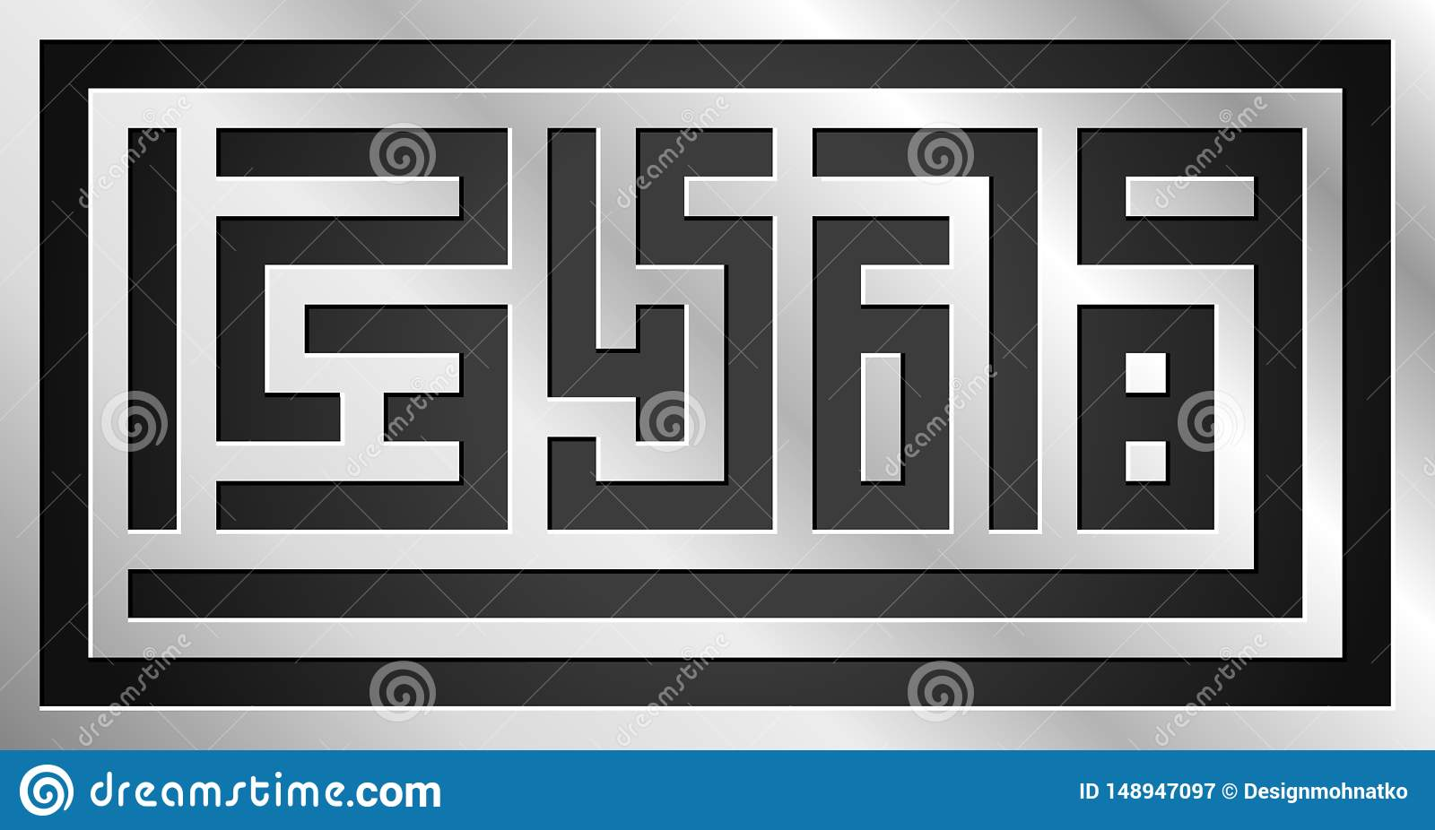 Geometric desing of numbers signs on steel background