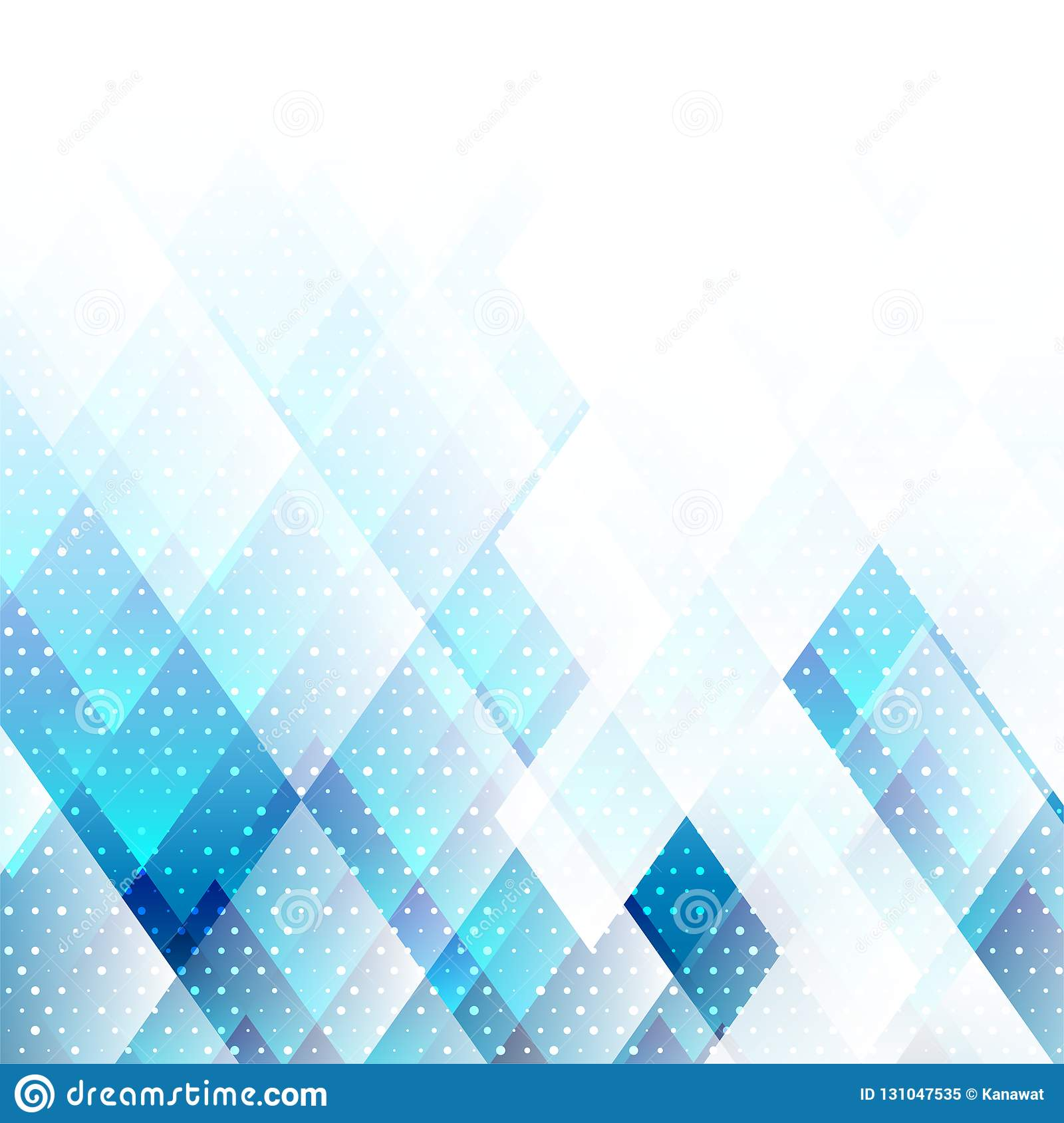 Geometric elements blue color with dots abstract vector background