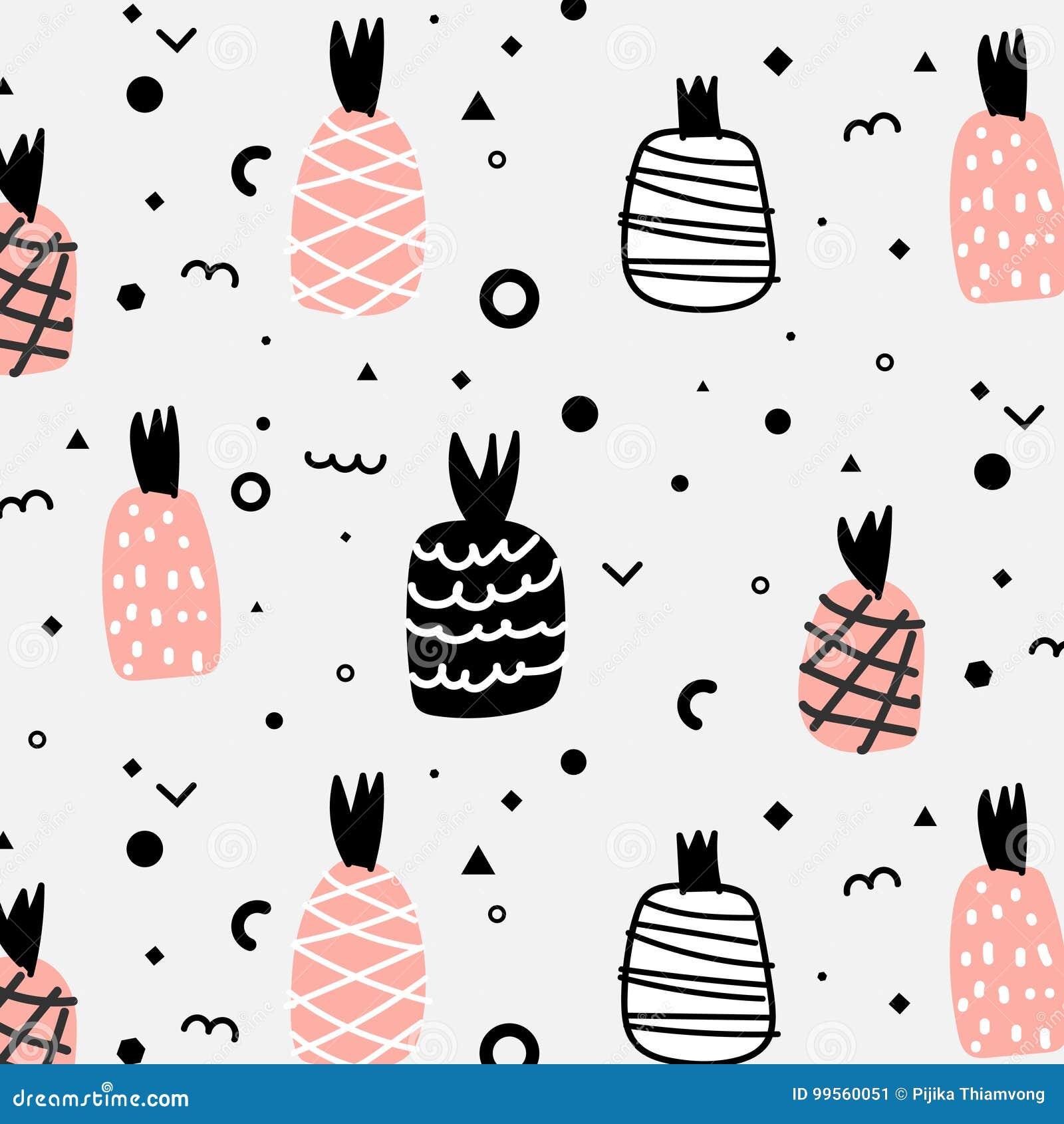 Geometric Flat And Cute Hand Drawn Pineapples Pattern.