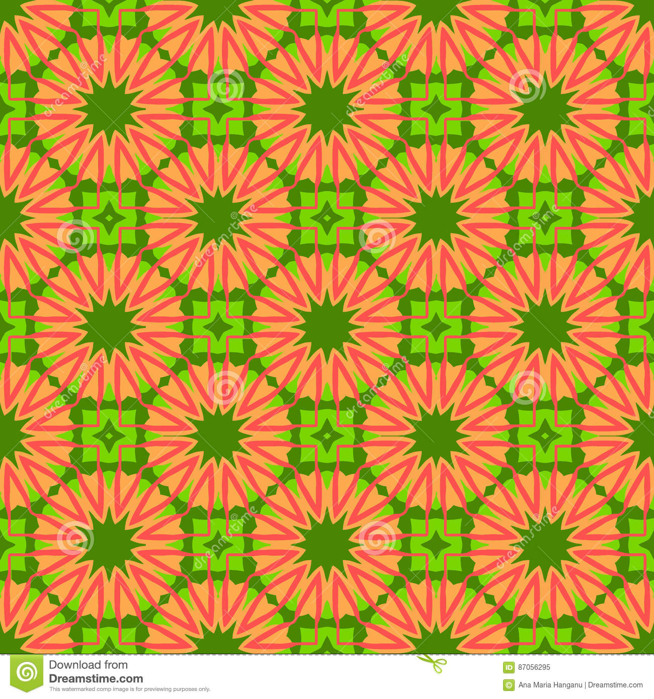 Geometric Floral Wallpaper.Tiles Moti, Digital Paper For