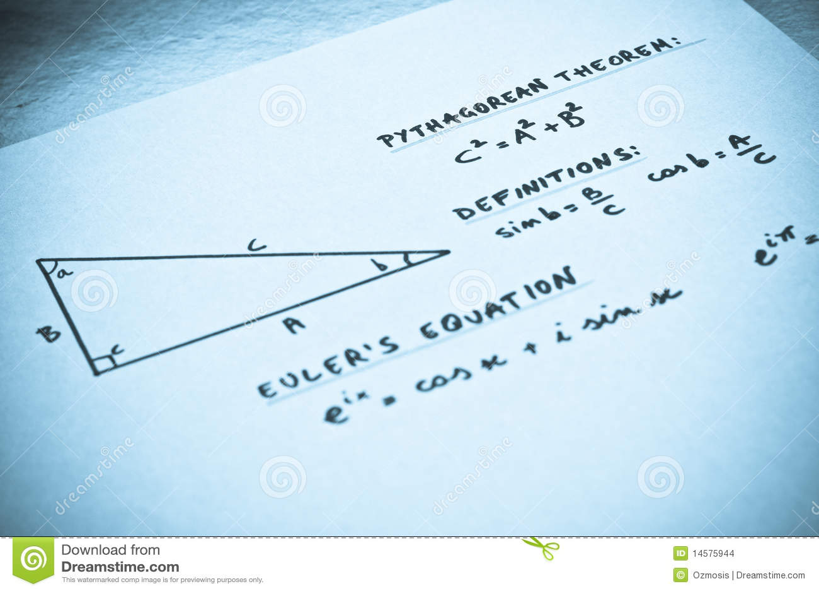 geometric formulas written on a white paper stock images image geometric formulas written on a white paper