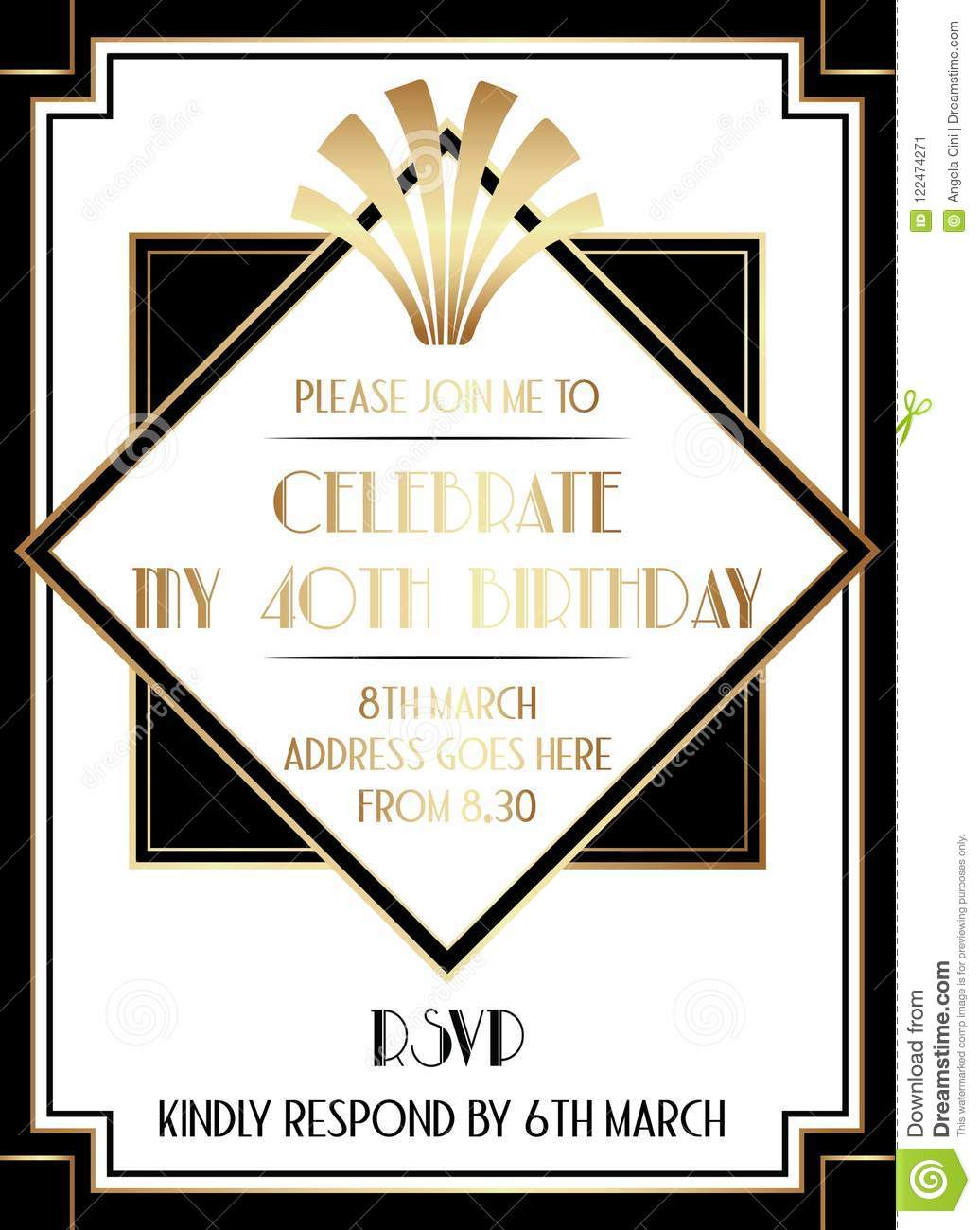 Geometric Gatsby Art Deco Style Birthday Invitation Design Stock ...