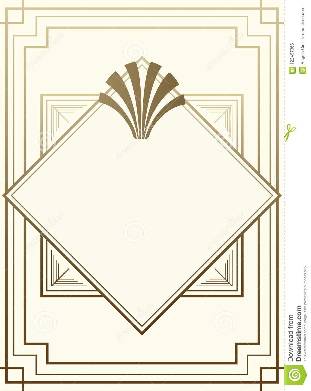 Geometric Gatsby Art Deco Style Frame Background Design Stock Vector
