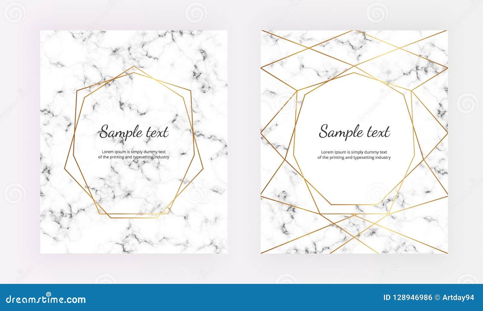 geometric gold line frame on the marble texture minimalist placard