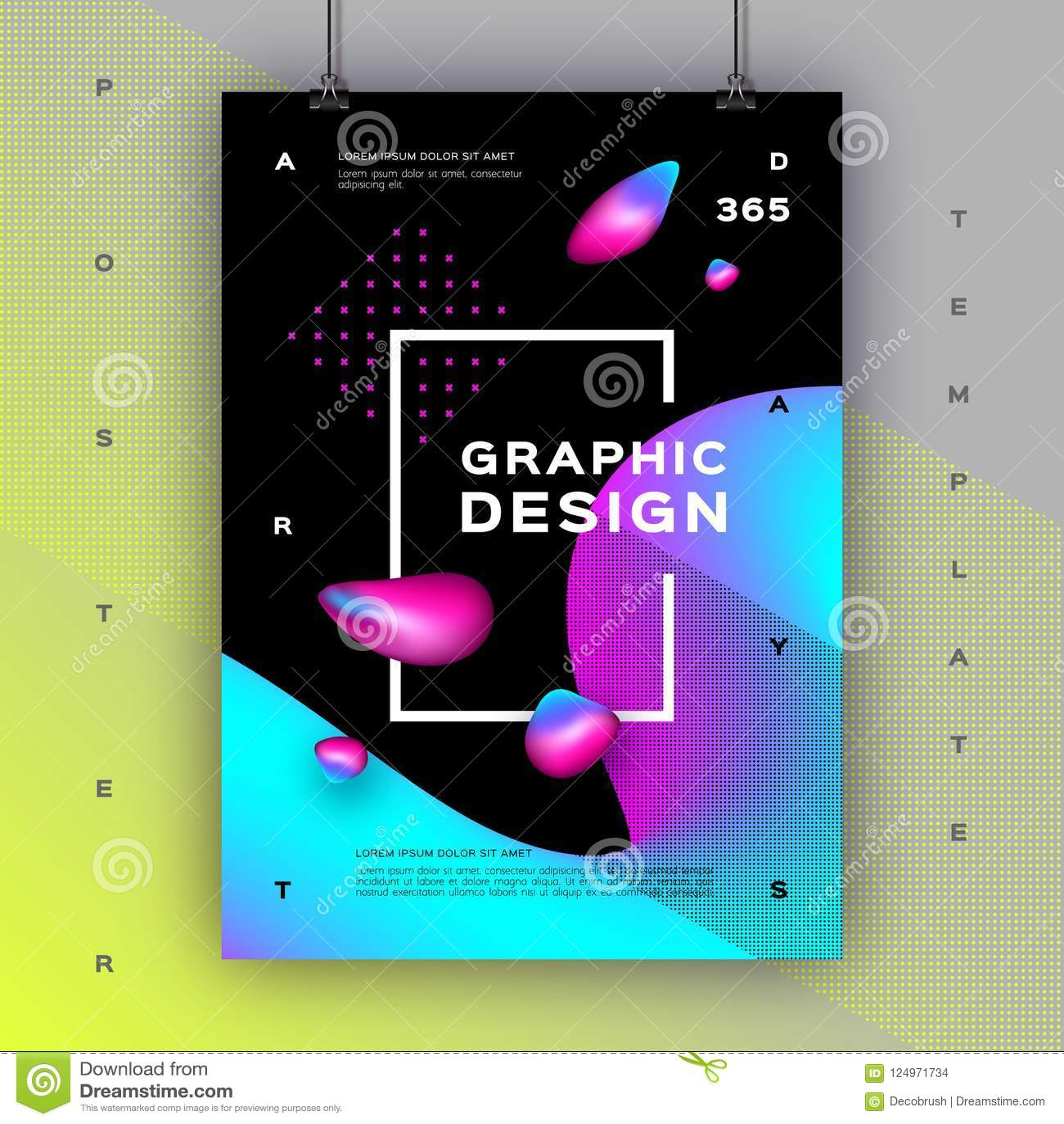 Trendy Poster Designs: Geometric Gradient Background, Trendy Graphic Design