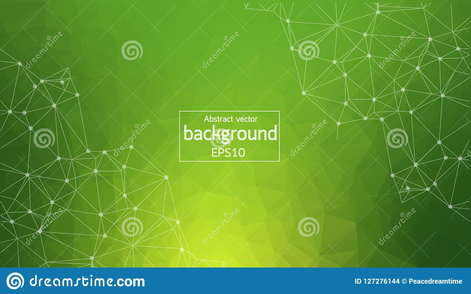 Geometric Green Polygonal background molecule and communication. Connected lines with dots. Minimalism background. Concept of the