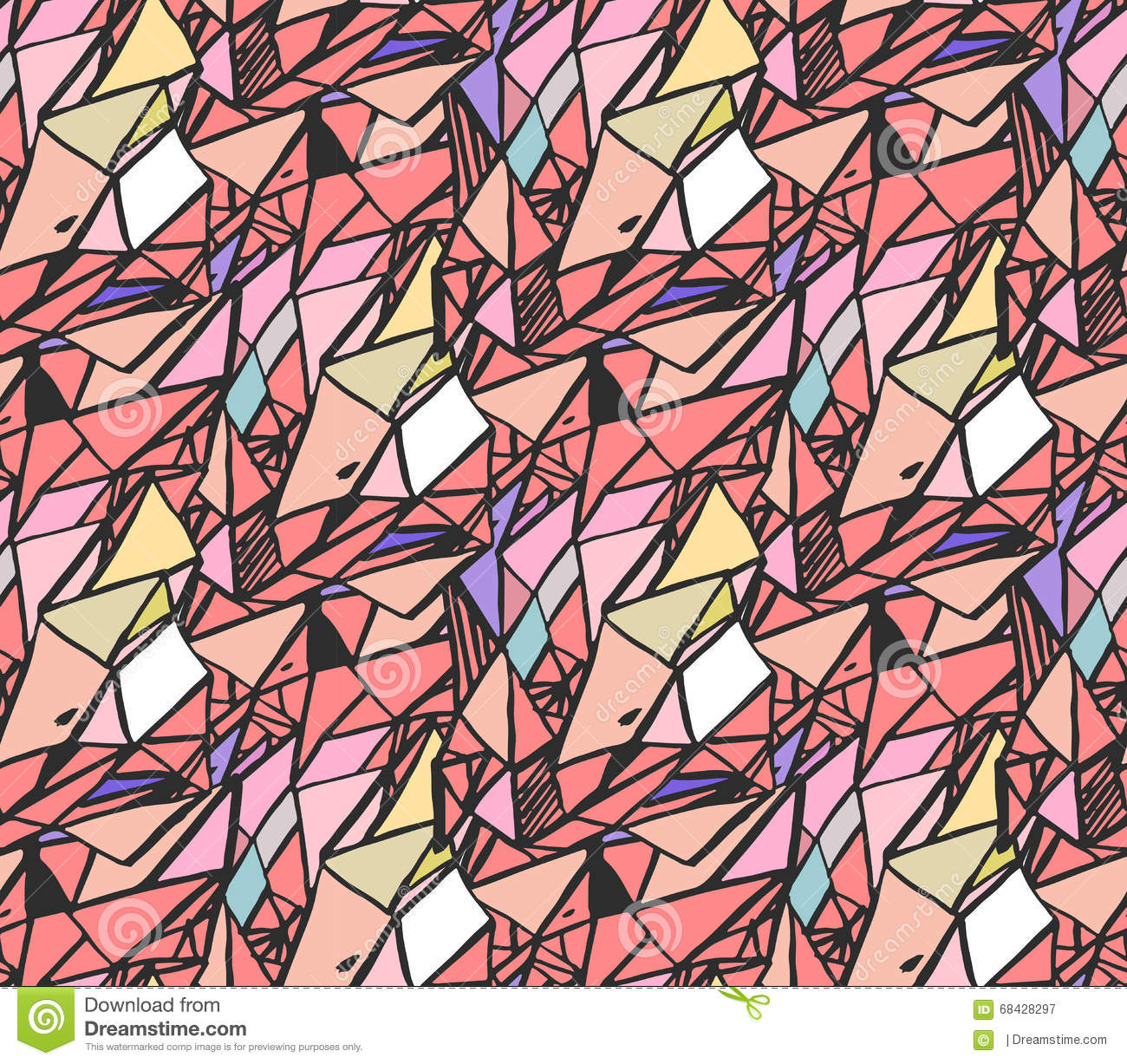 Geometric hand draw ink patterns colorful trend abstract for How to draw mosaic patterns