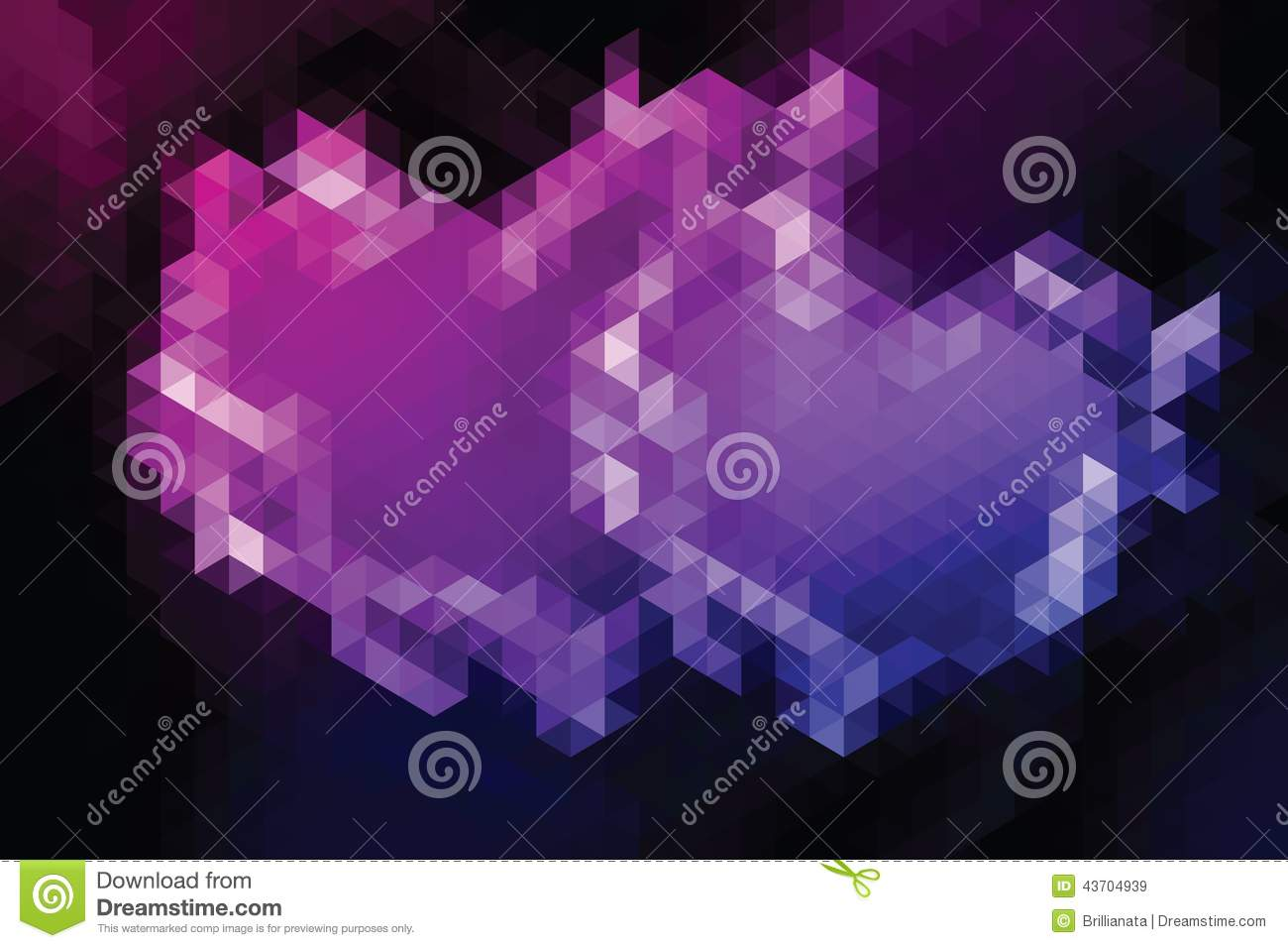 Geometric heart in style triangle abstraction