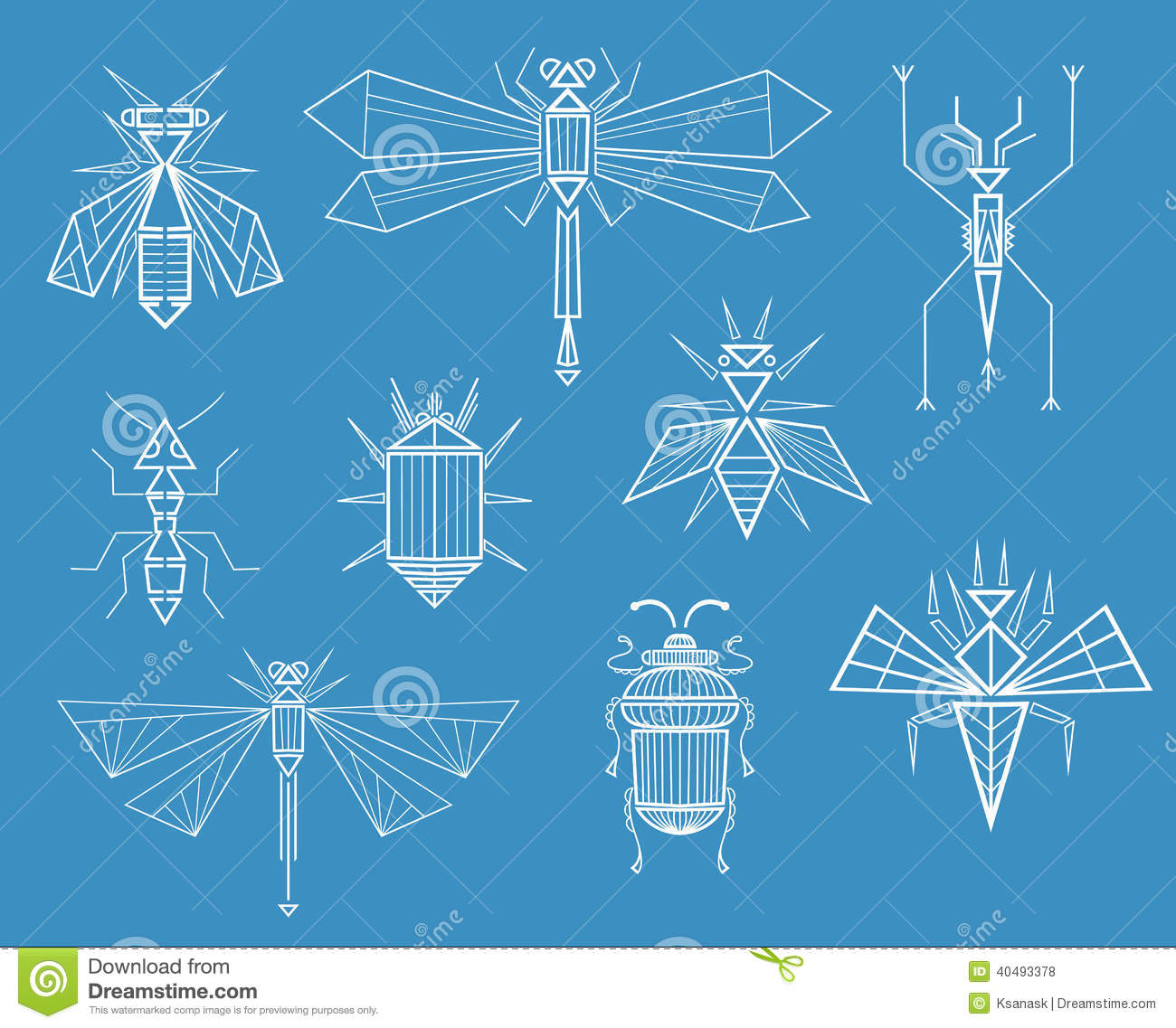 Set of different insects, characters line art drawing. Illustration ...