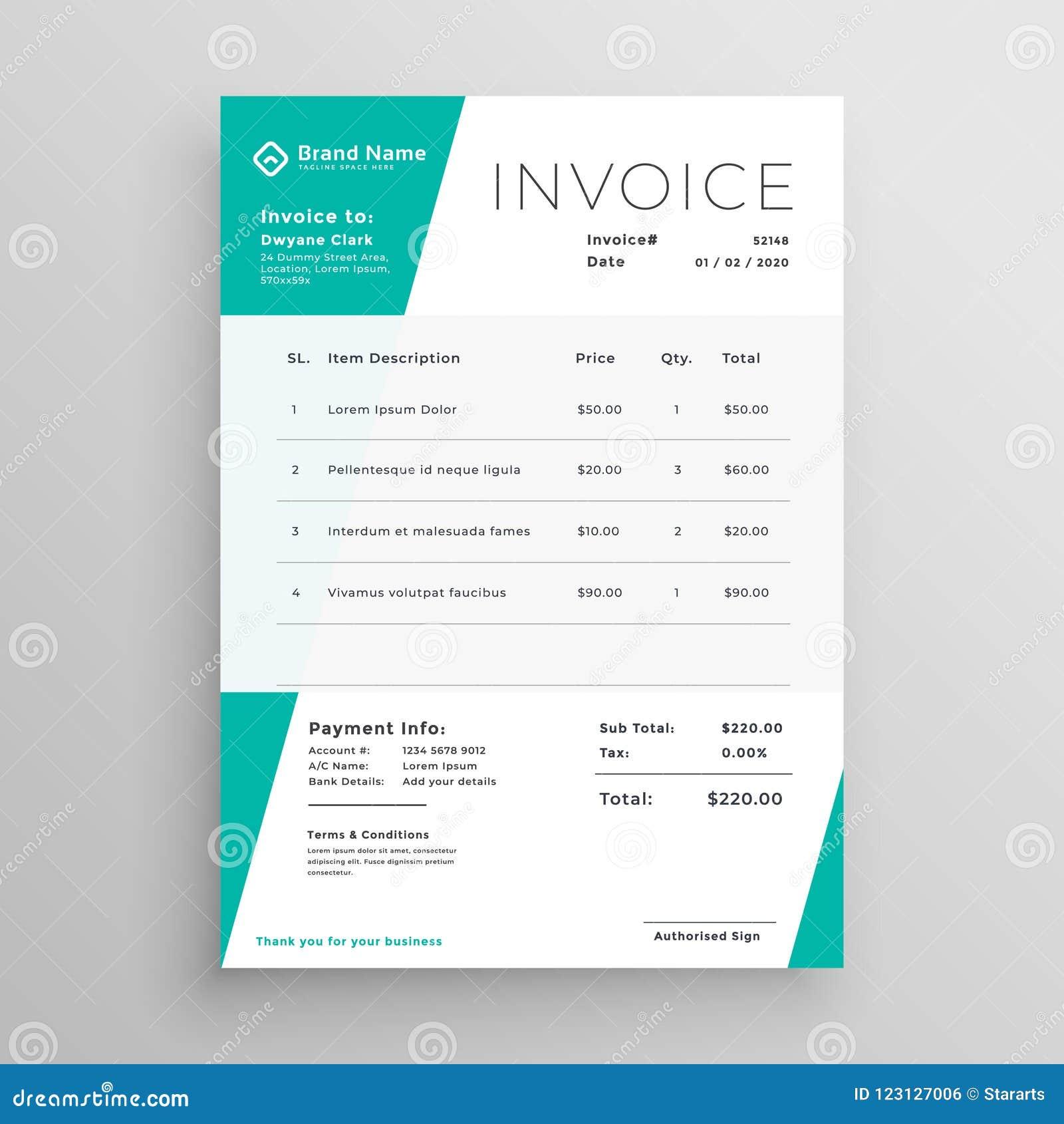 geometric invoice template design in minimal style stock vector