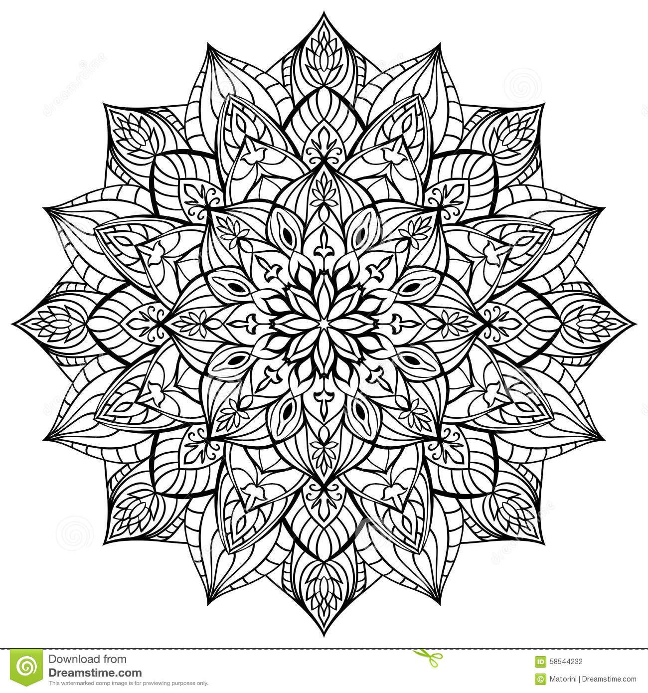 Geometric Mandala. Stock Vector. Illustration Of European - 58544232
