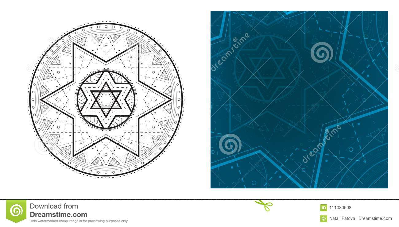design your own cutting file blank sheet TT83 commercial use SVG PNG Star of David template PSD party printable collage template