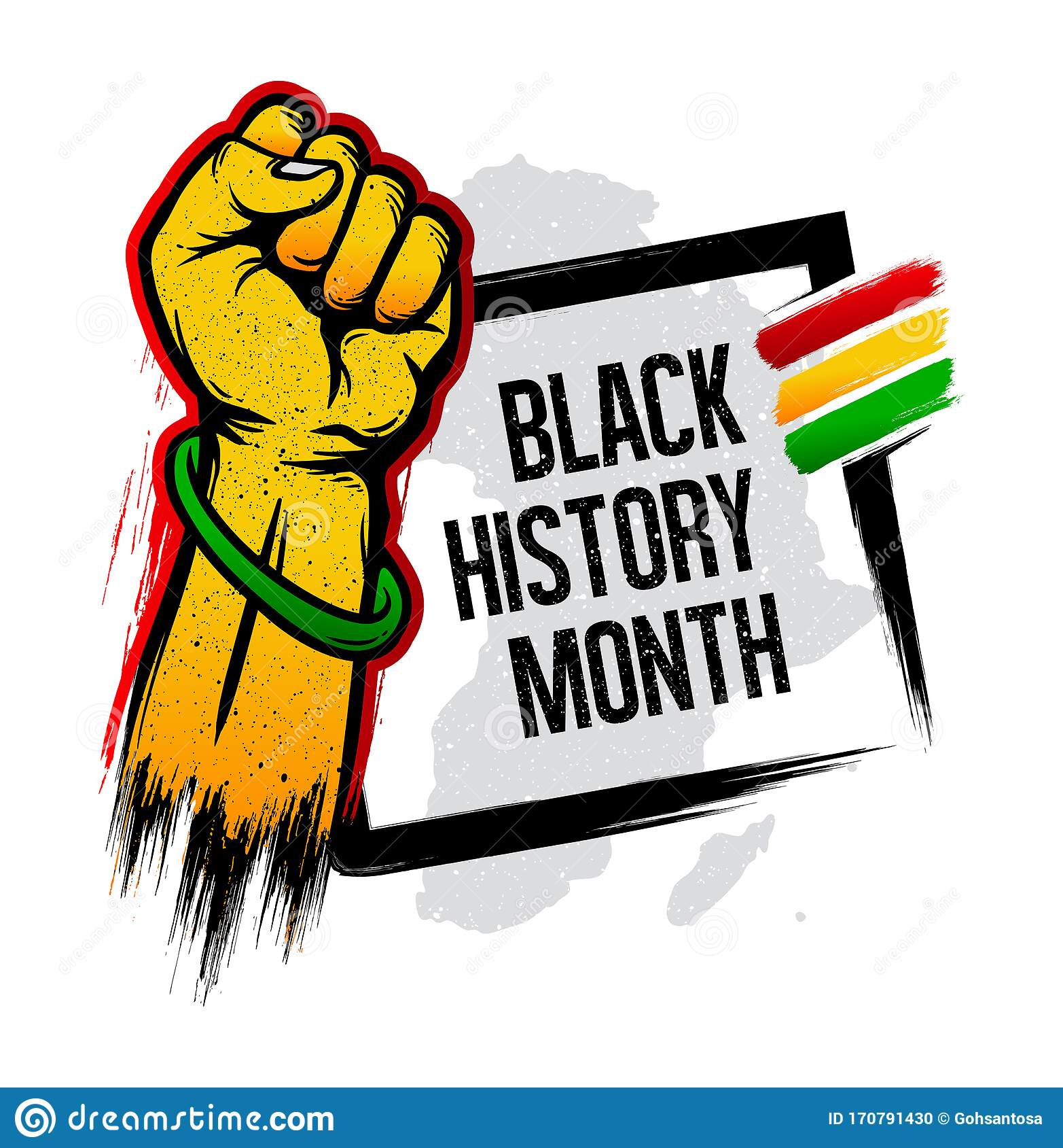 Black History Month Grunge Banner Design Stock Vector