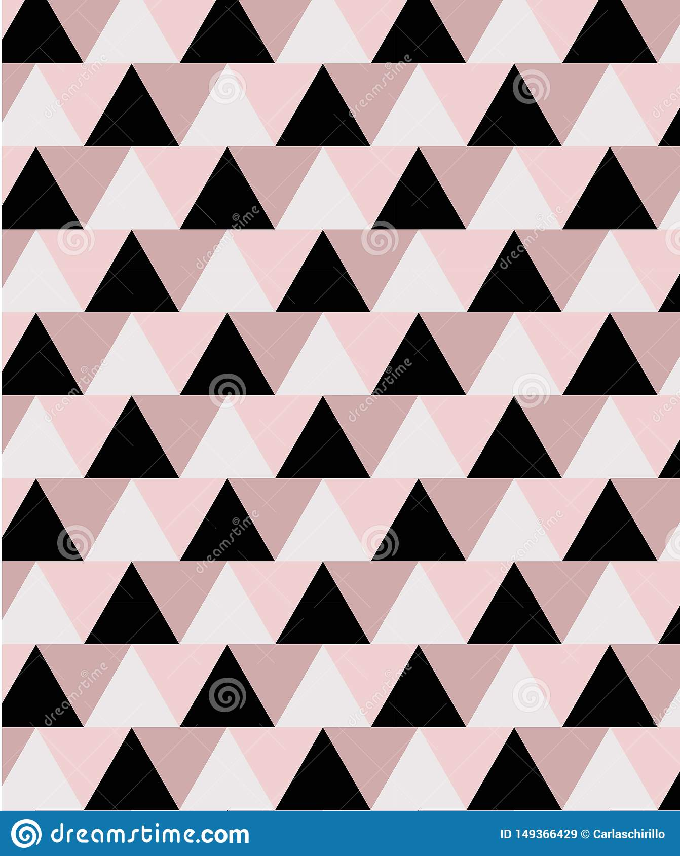 Geometric minimal seamless pattern in pink and black tones