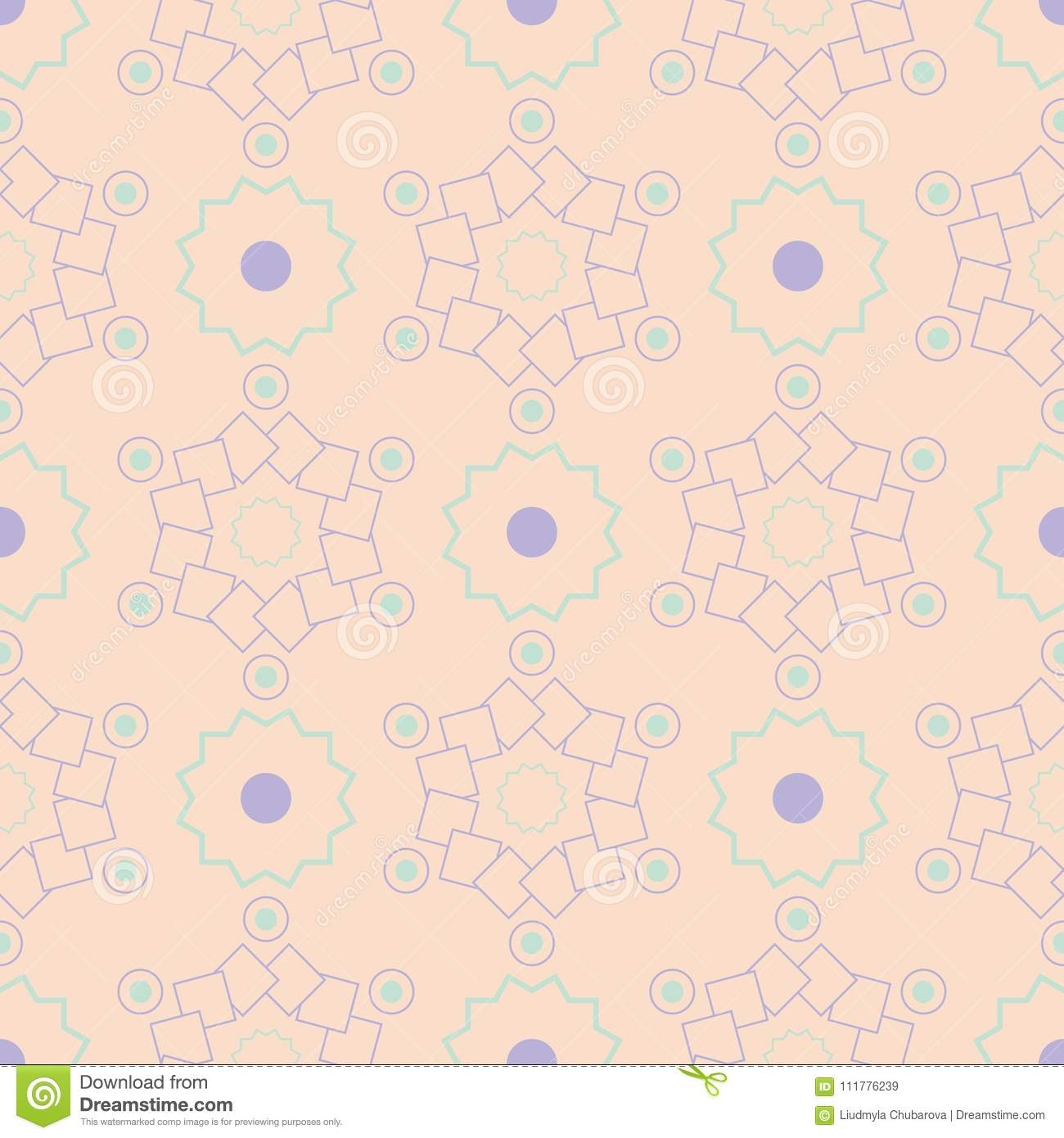 Geometric multi colored seamless pattern. Beige background with violet and blue design elements