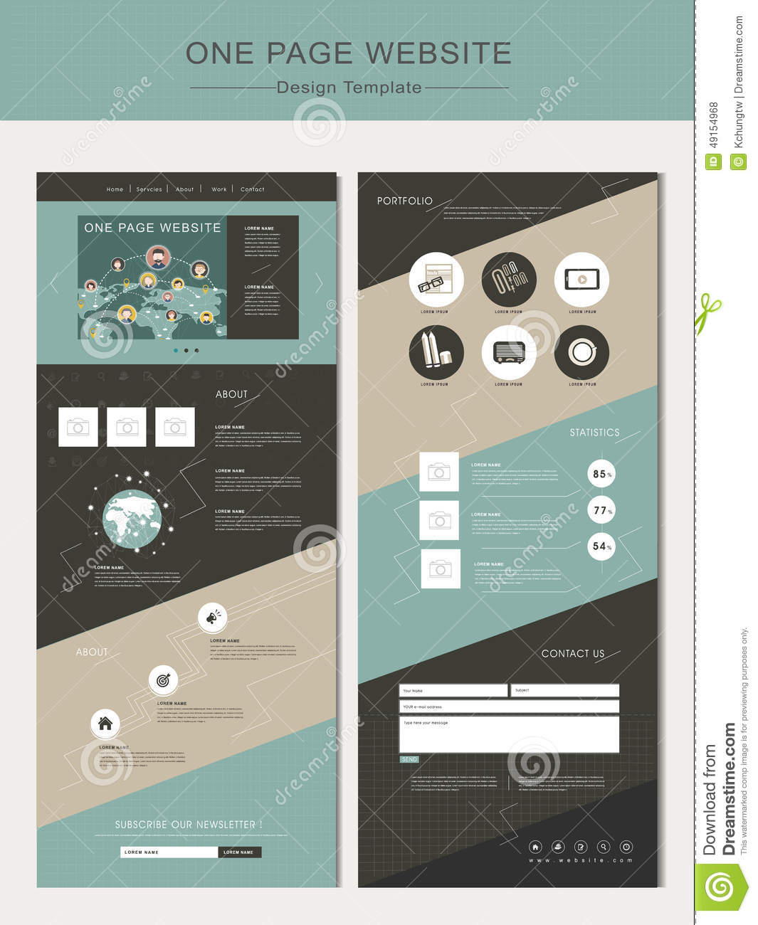 One Page Website Template: Geometric One Page Website Design Template Stock Vector