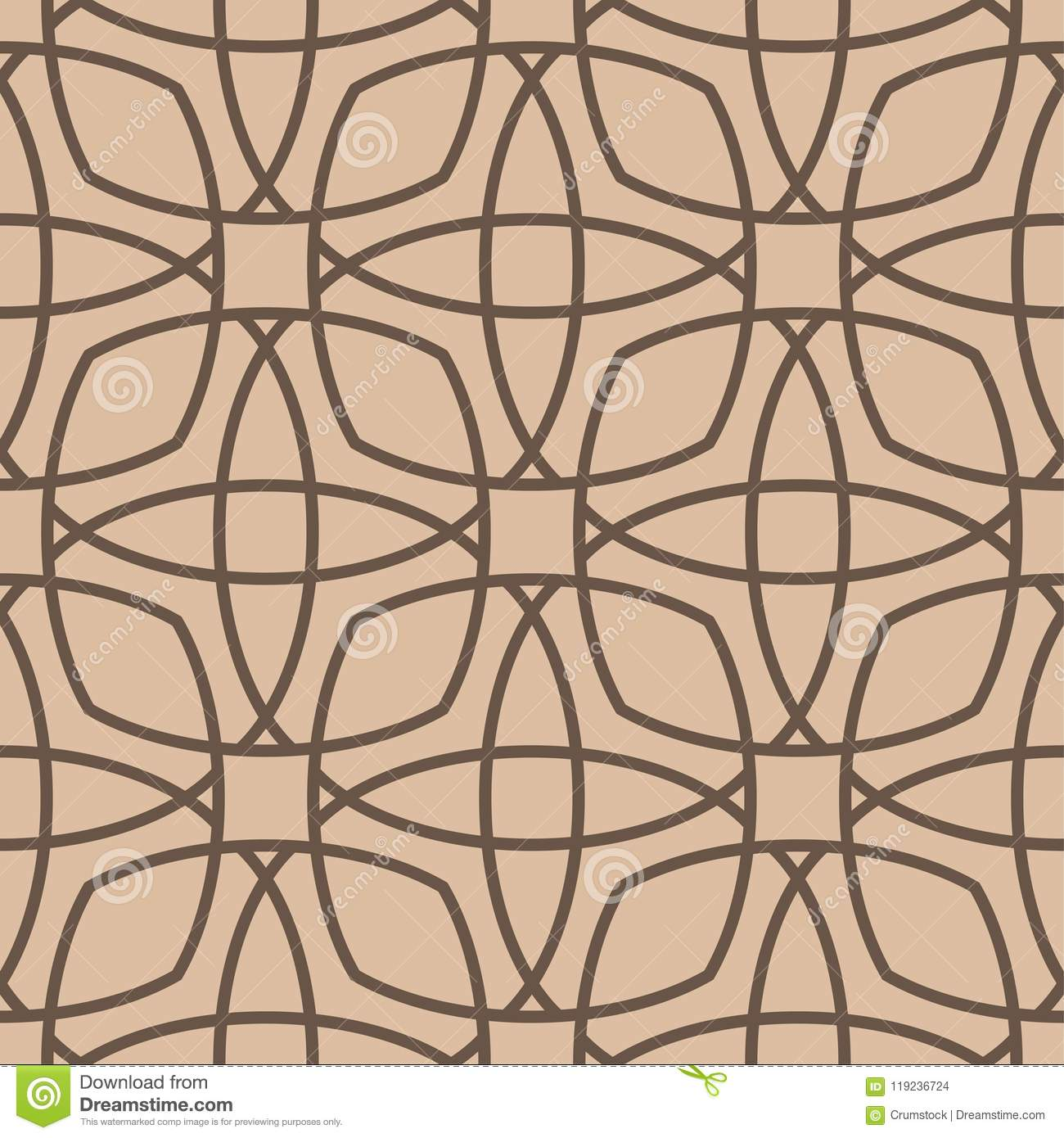 Geometric ornament. Beige and brown seamless pattern
