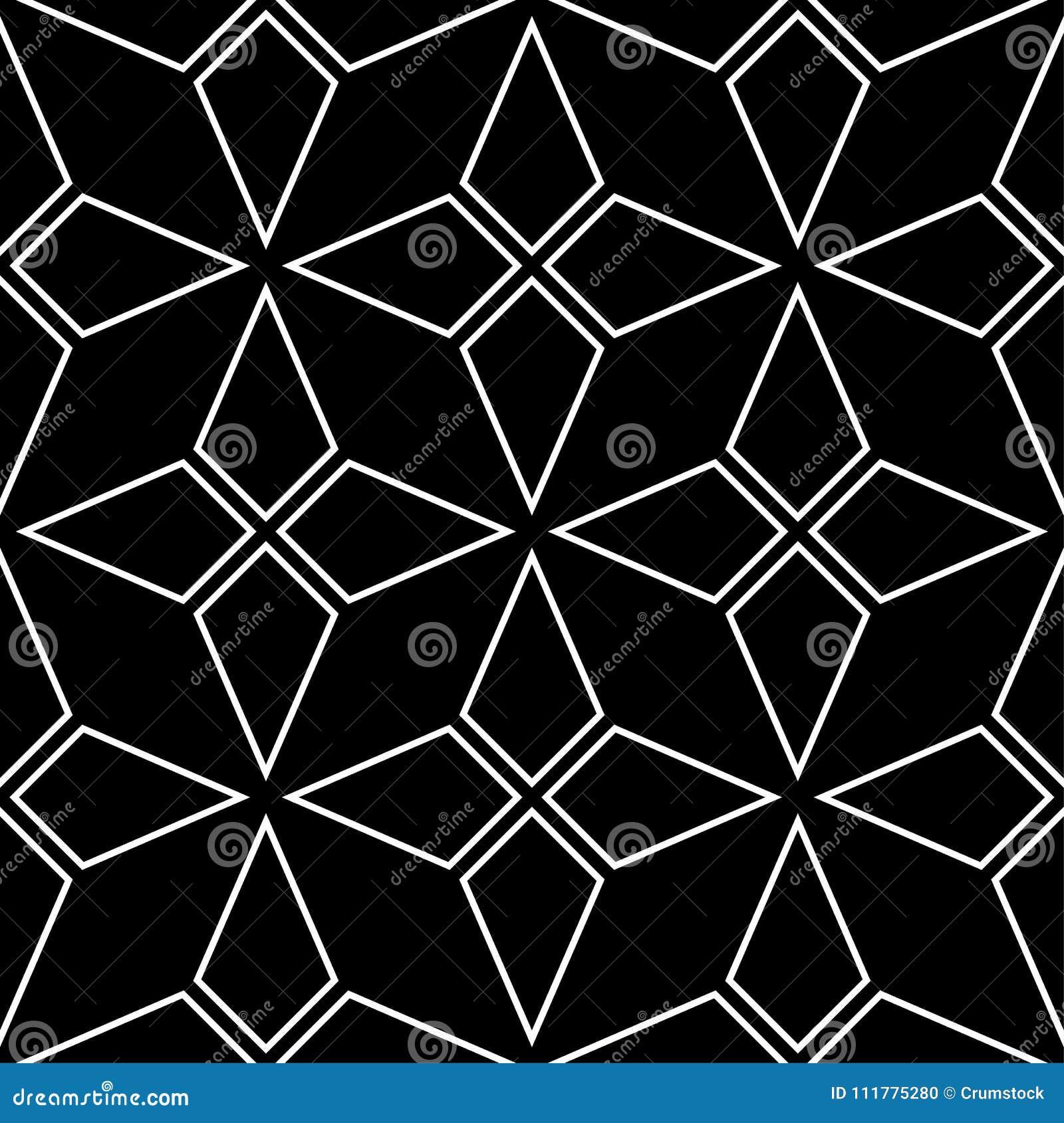 Geometric ornament. Black and white seamless pattern