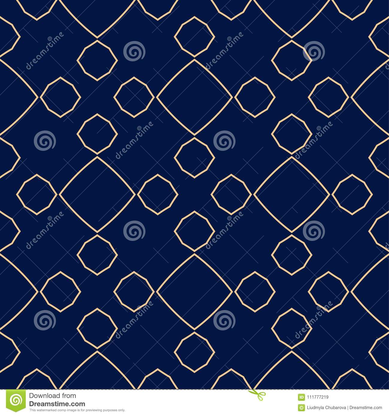 Geometric ornament. Golden blue seamless pattern
