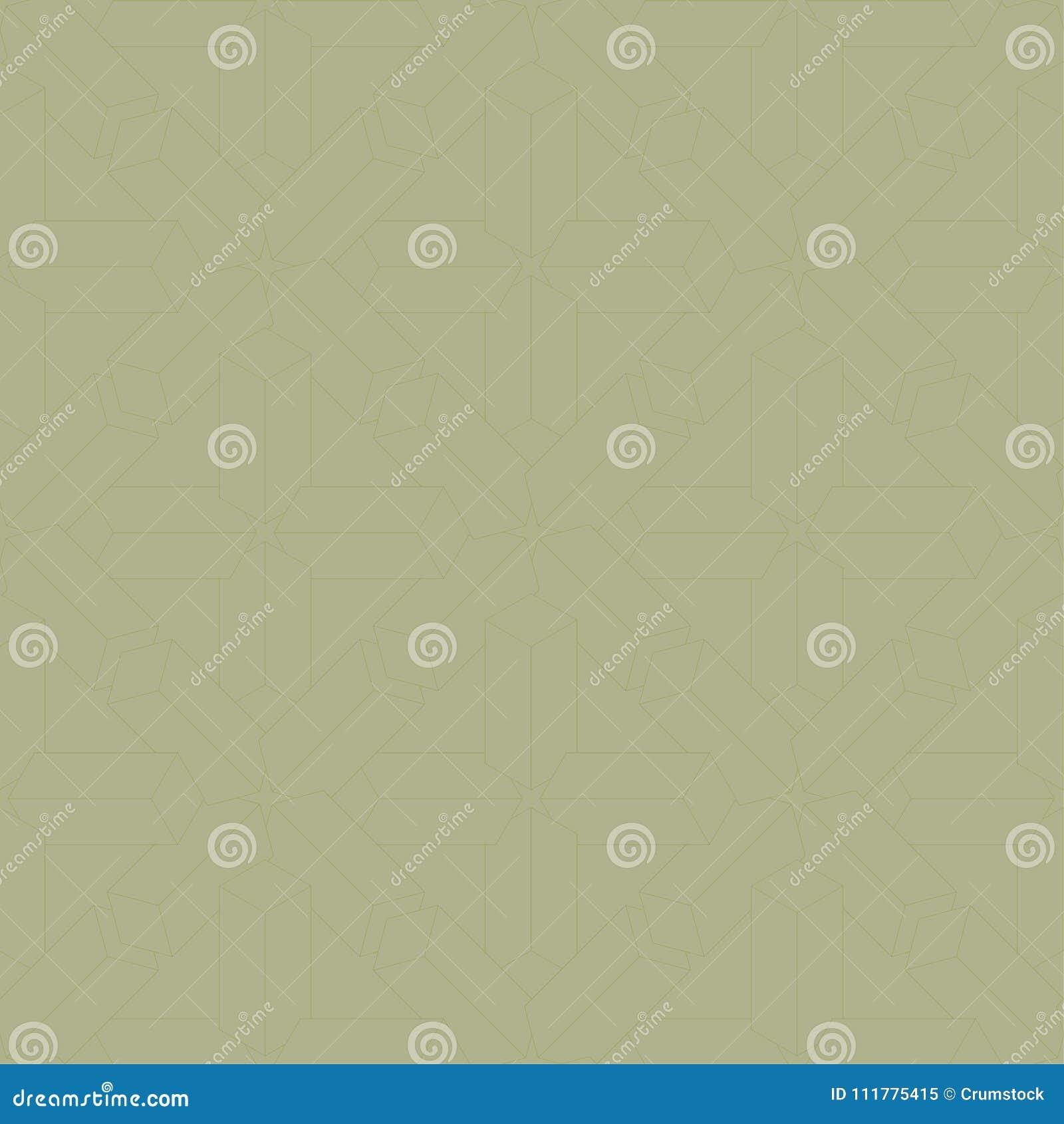 Geometric ornament. Olive green seamless pattern