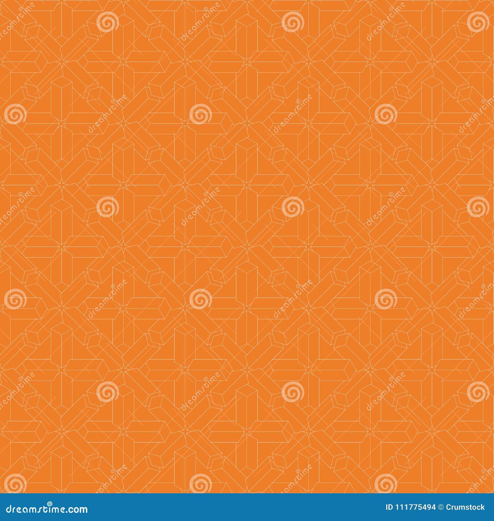 Geometric ornament. Orange and white seamless pattern