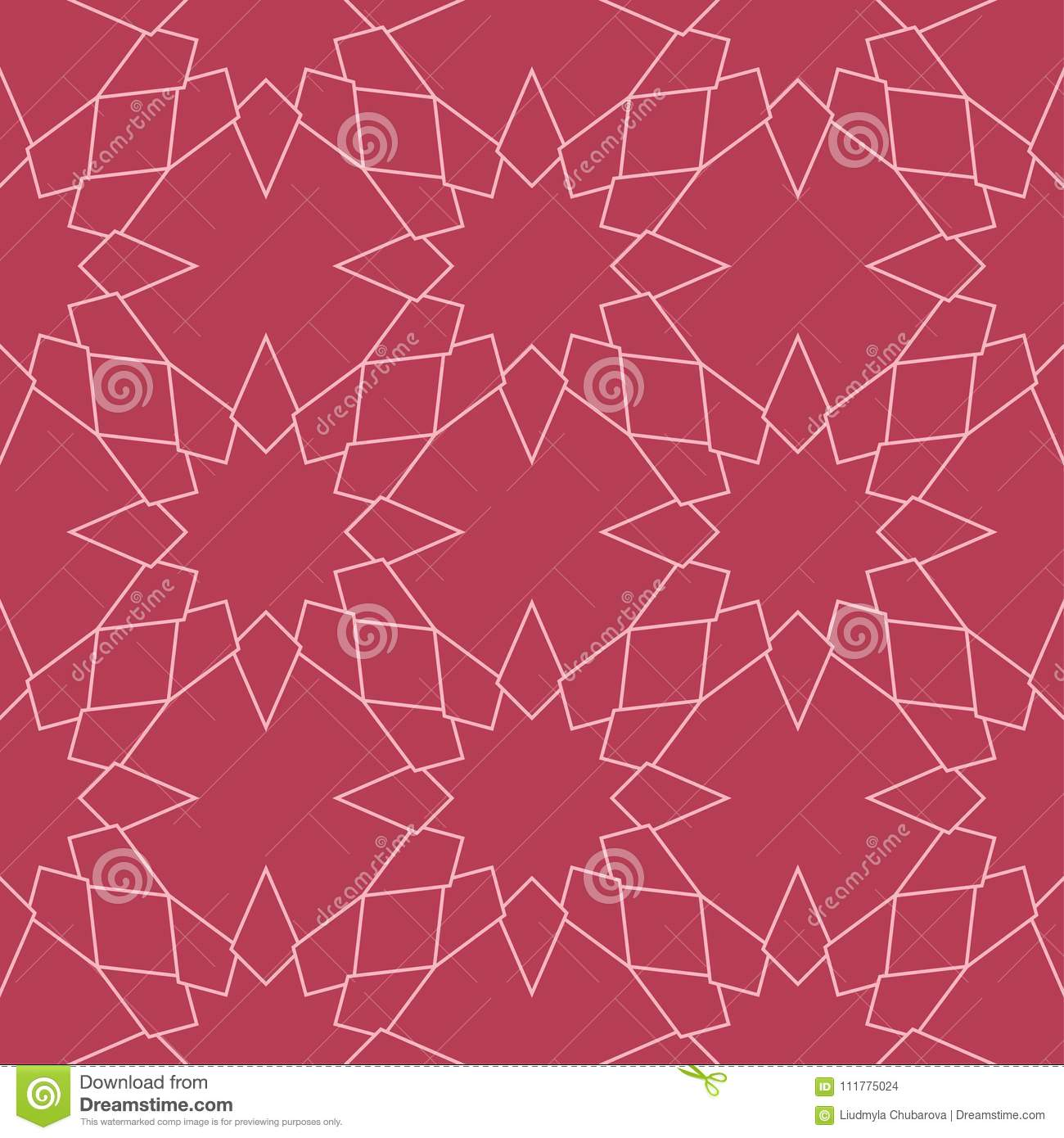 Geometric ornament. Red and pale pink seamless pattern