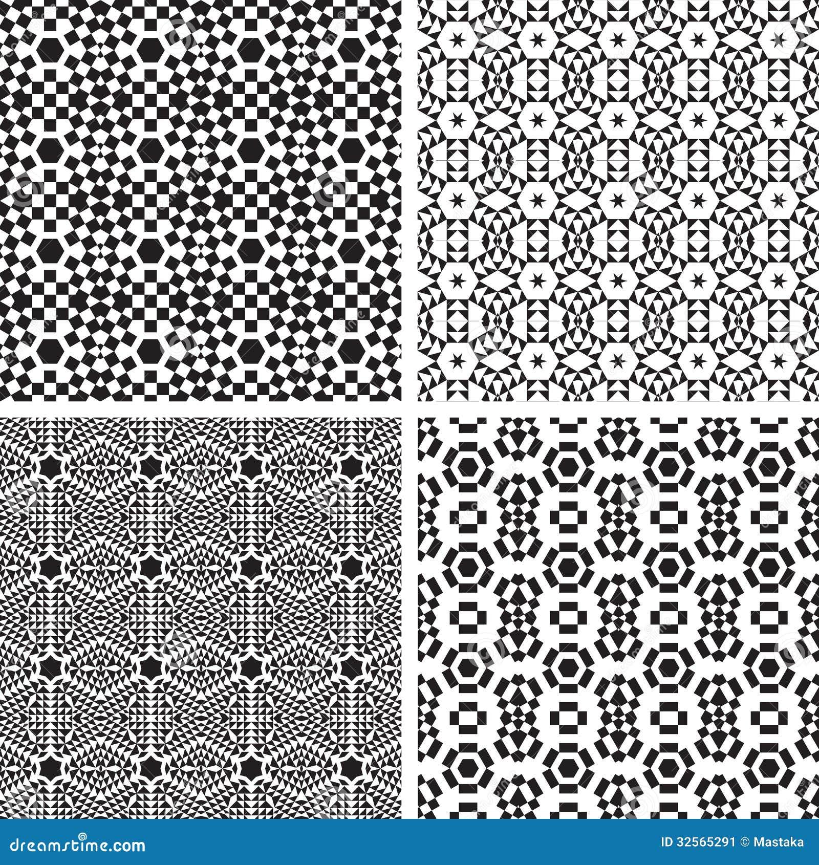 Black and white ornaments - Black Geometric Pattern Seamless Set White