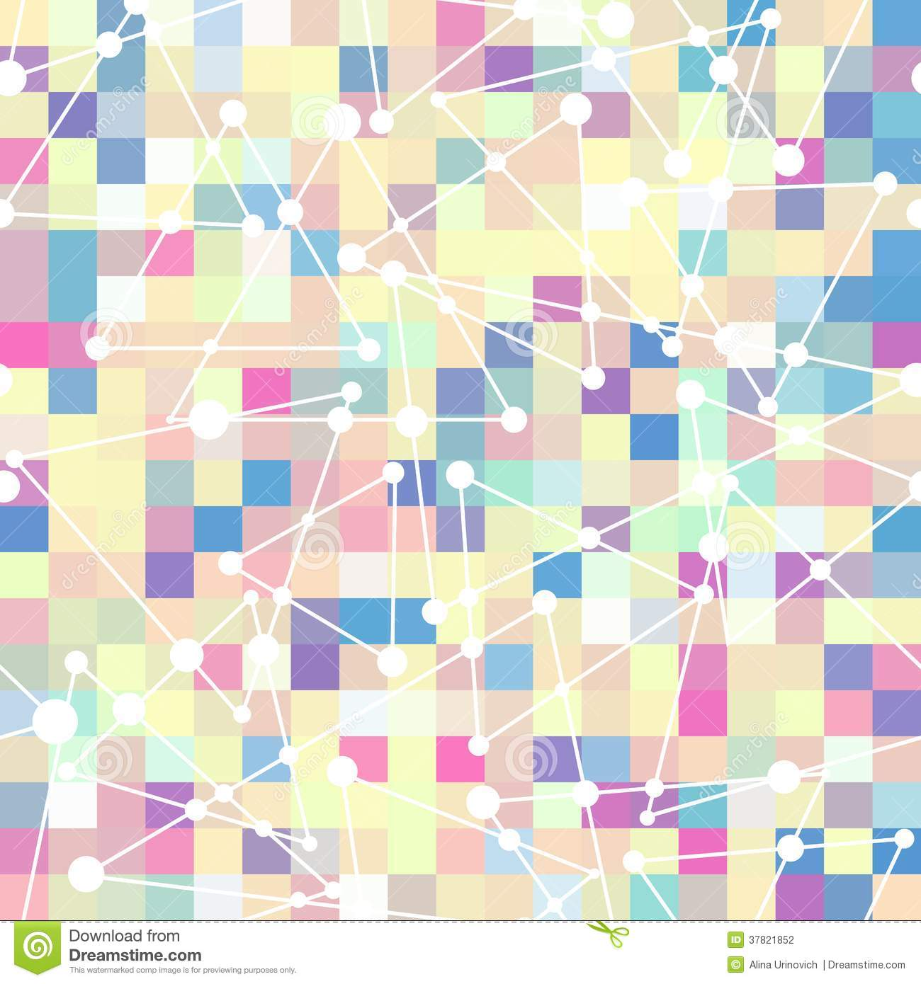 Geometric pattern of color square and triangle