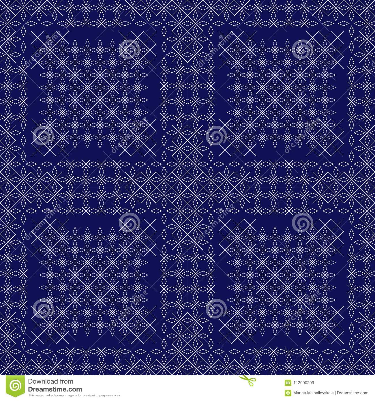 A geometric pattern of crosses and rhombuses on a blue background.