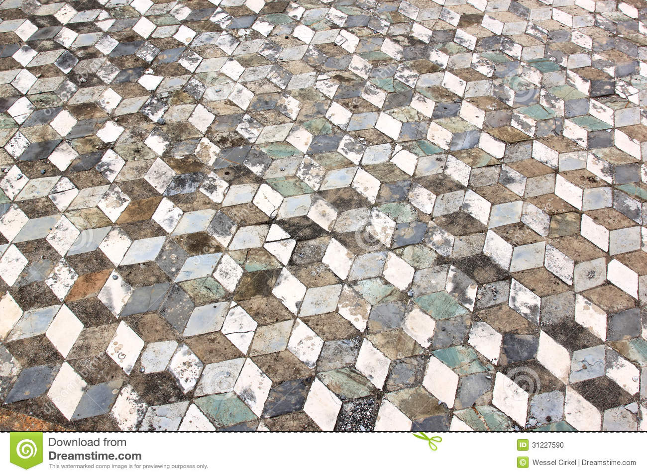 Geometric Pattern Floor In Ancient Pompeii Italy Stock