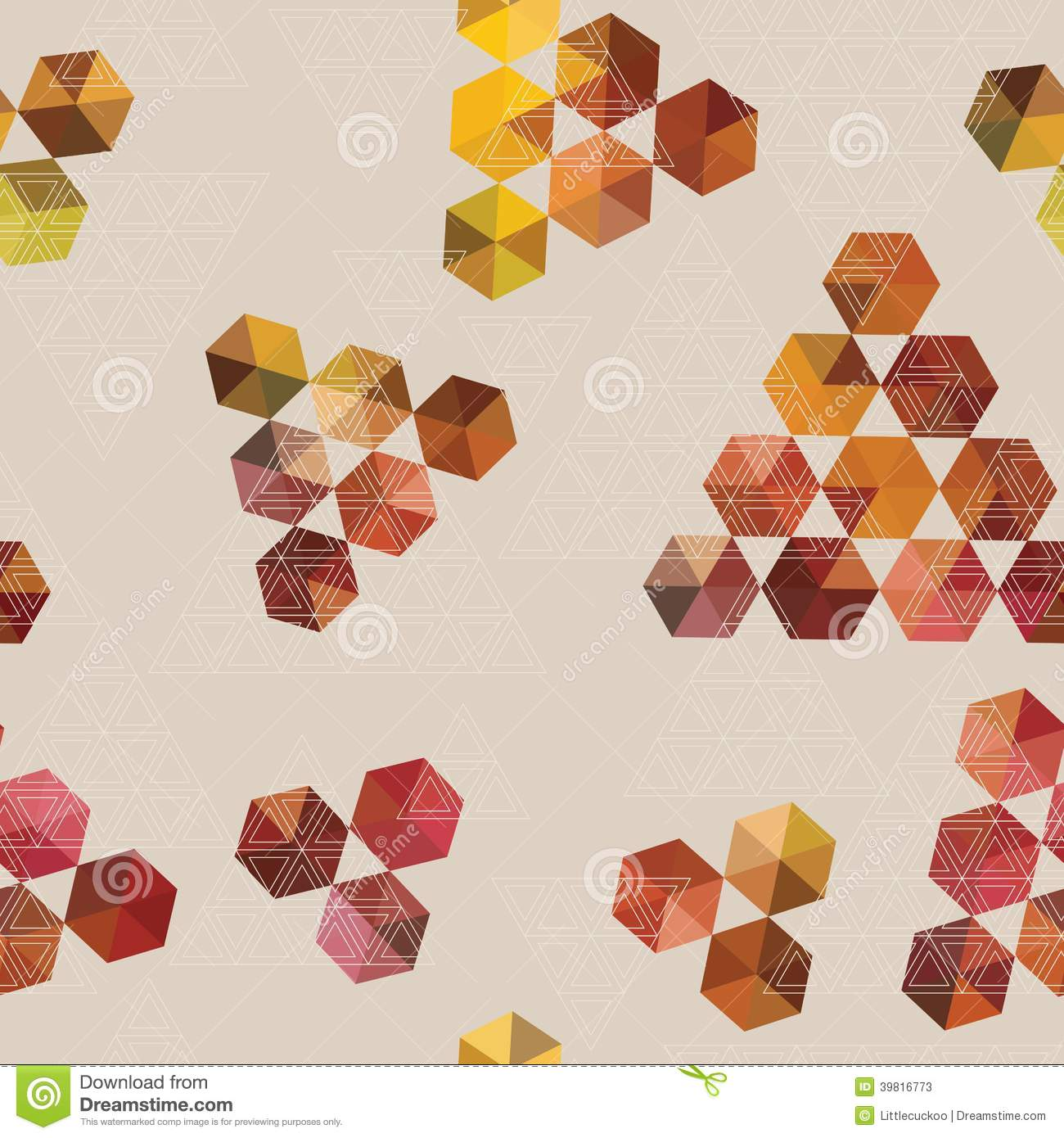 Geometric Pattern Of Hexagons And Triangles Stock Vector
