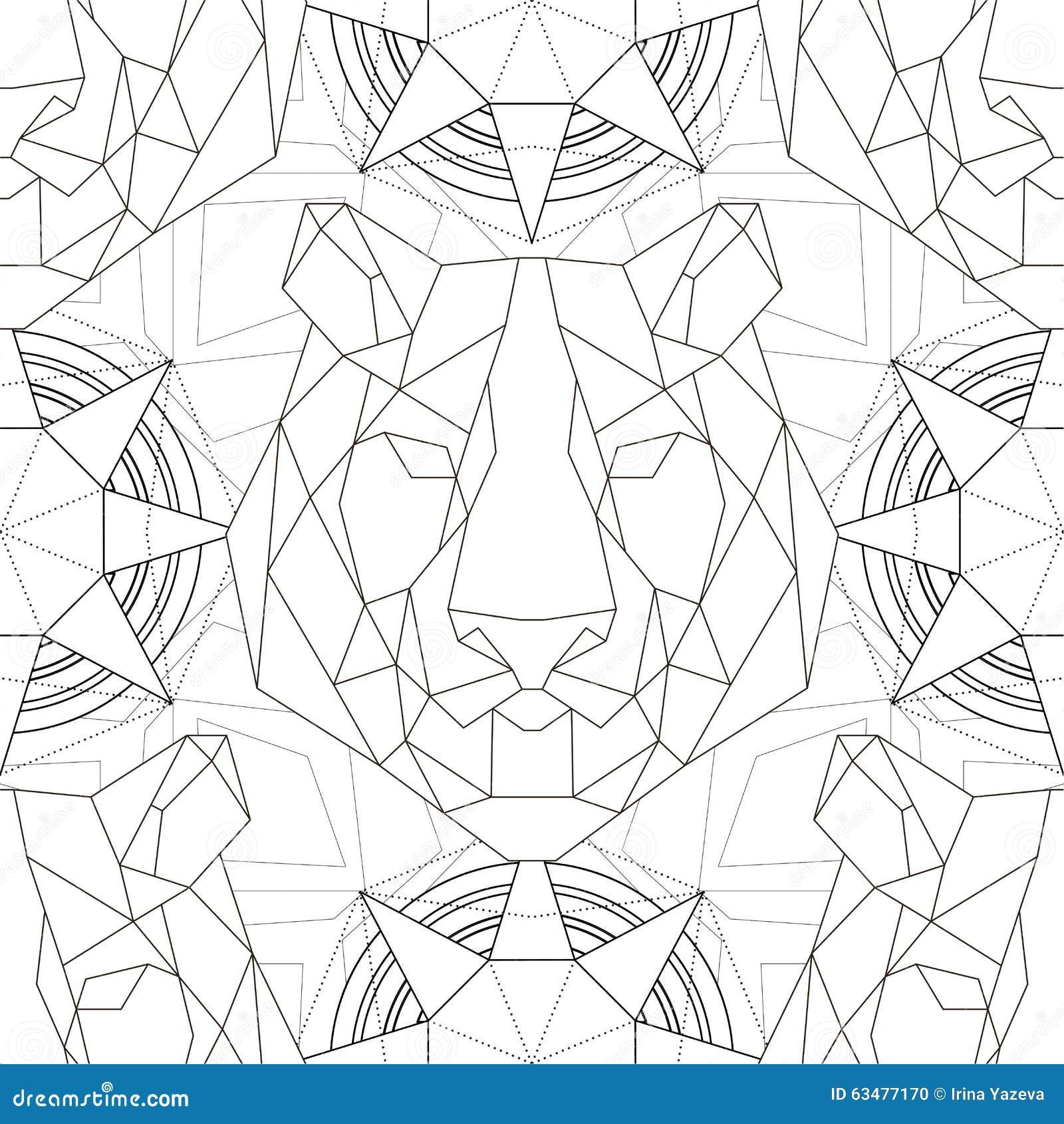 Geometric Pattern Tiger Head Trendy Line Design Stock Vector