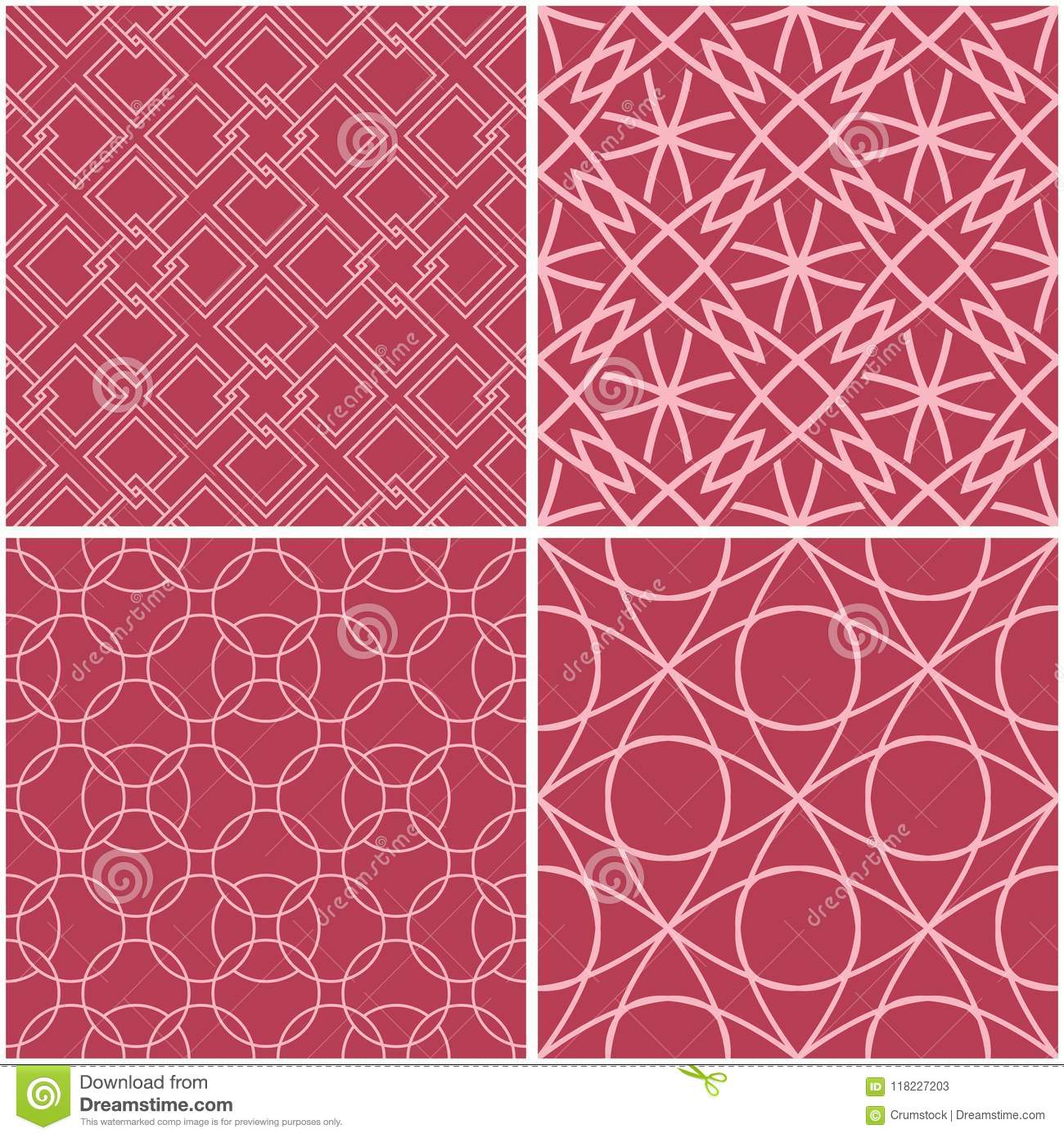 Geometric patterns. Set of pale red seamless backgrounds