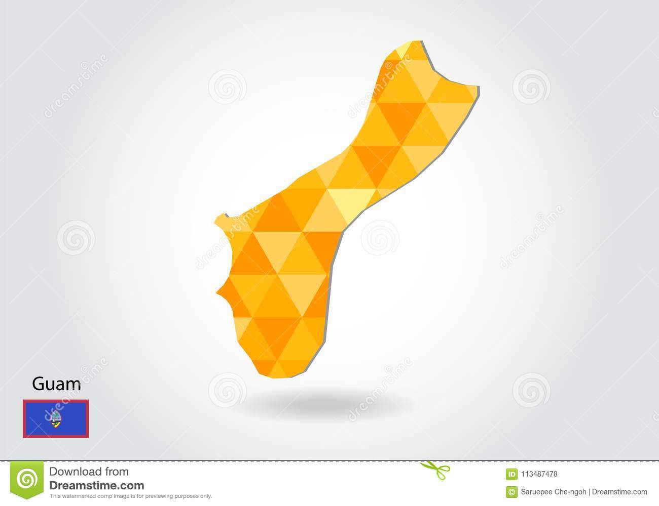 Geometric polygonal style vector map of guam. Low poly map of guam.