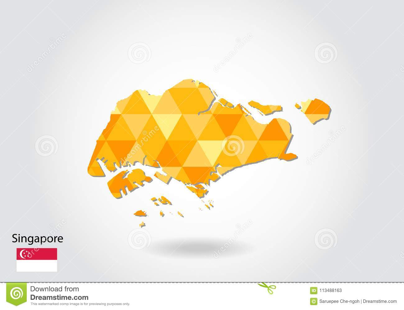 Geometric Polygonal Style Vector Map Of Singapore. Low Poly Map Of ...