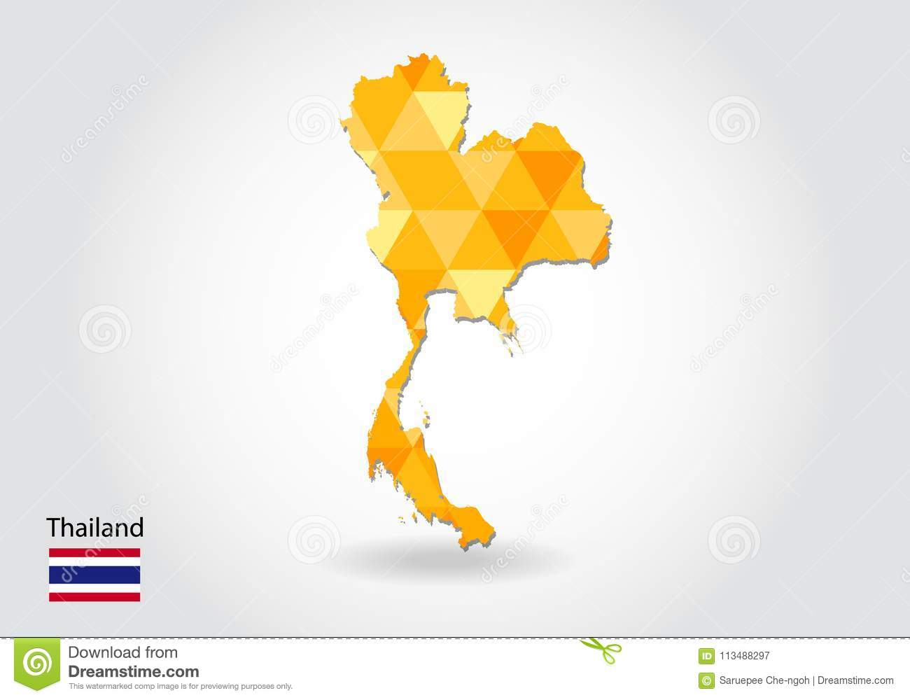 Geometric Polygonal Style Vector Map Of Thailand. Low Poly Map Of ...