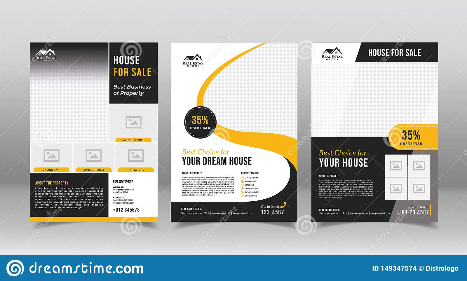 Geometric Real Estate Brochure Design Template  Business Flyer