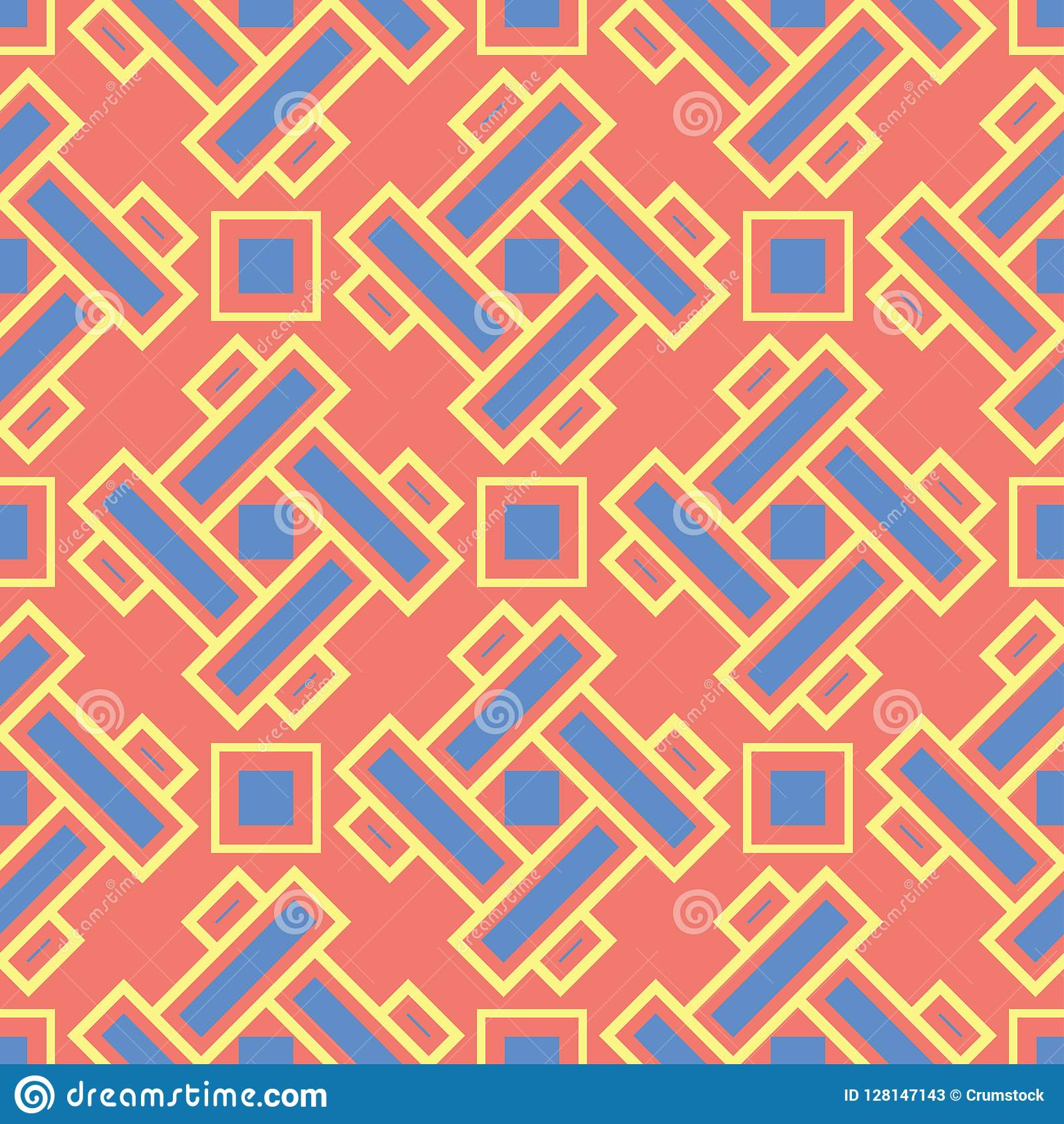 Geometric red orange seamless pattern. Bright background with blue and yellow design