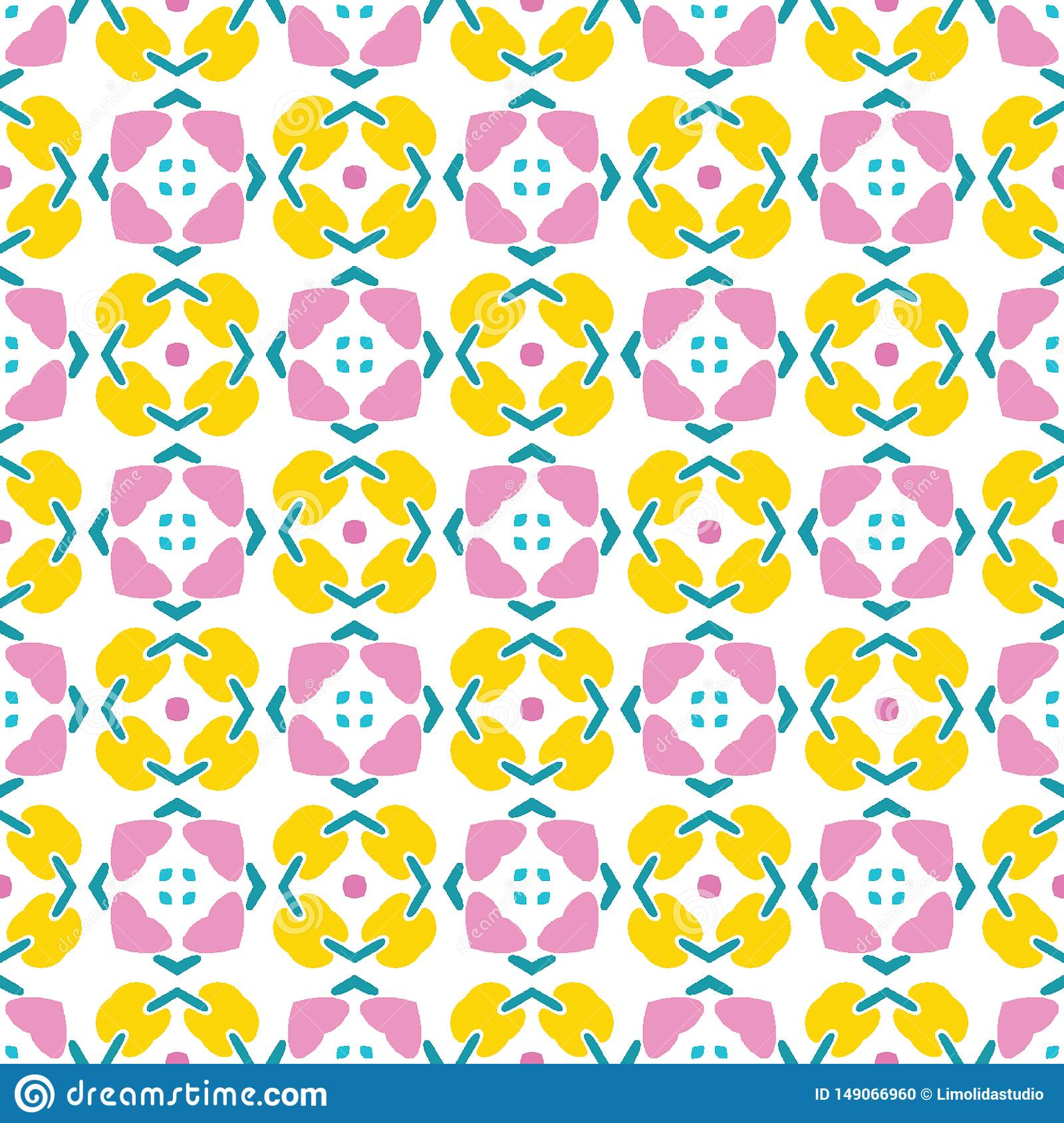 Geometric retro square shapes seamless pattern. All over print vector background. Pretty summer 1950s quilt tile fashion style.