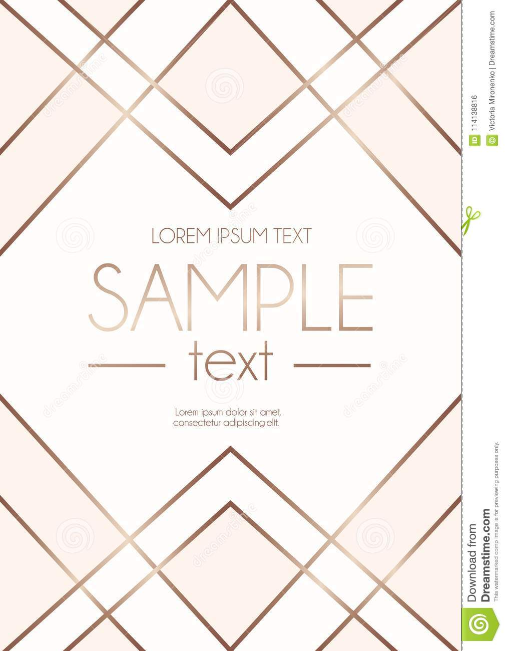 Geometric Rose Gold Design Template With Blush Pink And White Ab