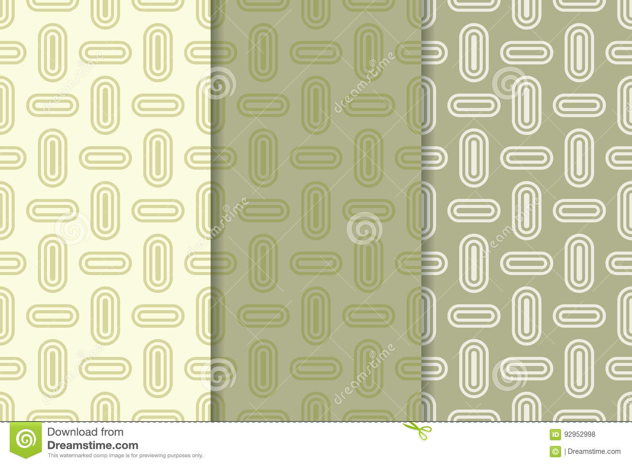 Geometric Seamless Background Olive Green Wallpaper With Oval Elements