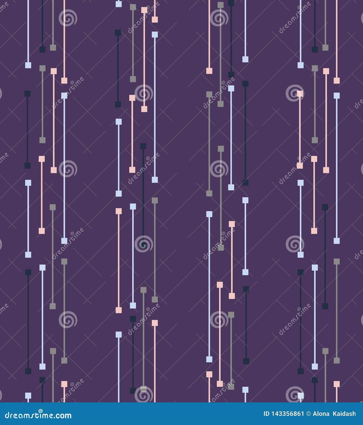 Geometric seamless pattern with circles, stripes, dots.