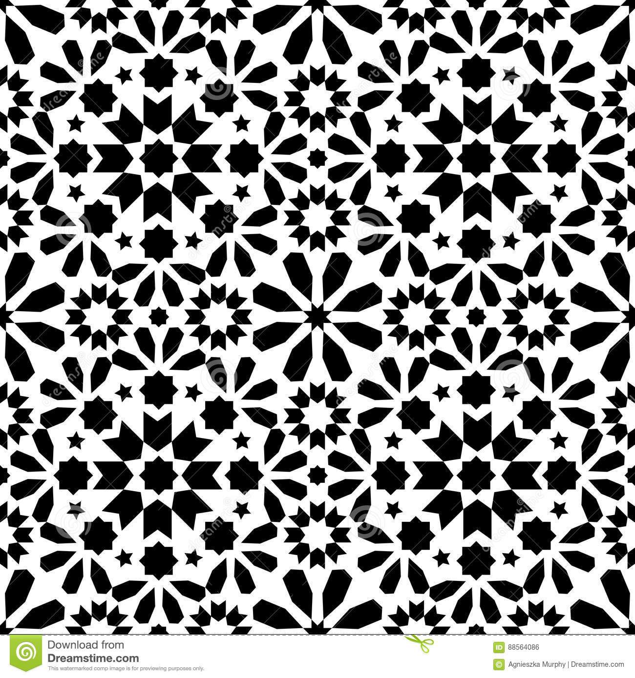 Designer White Abstract Ceramic Wall Tile Pack Of 8 L: Geometric Seamless Pattern, Moroccan Tiles Design