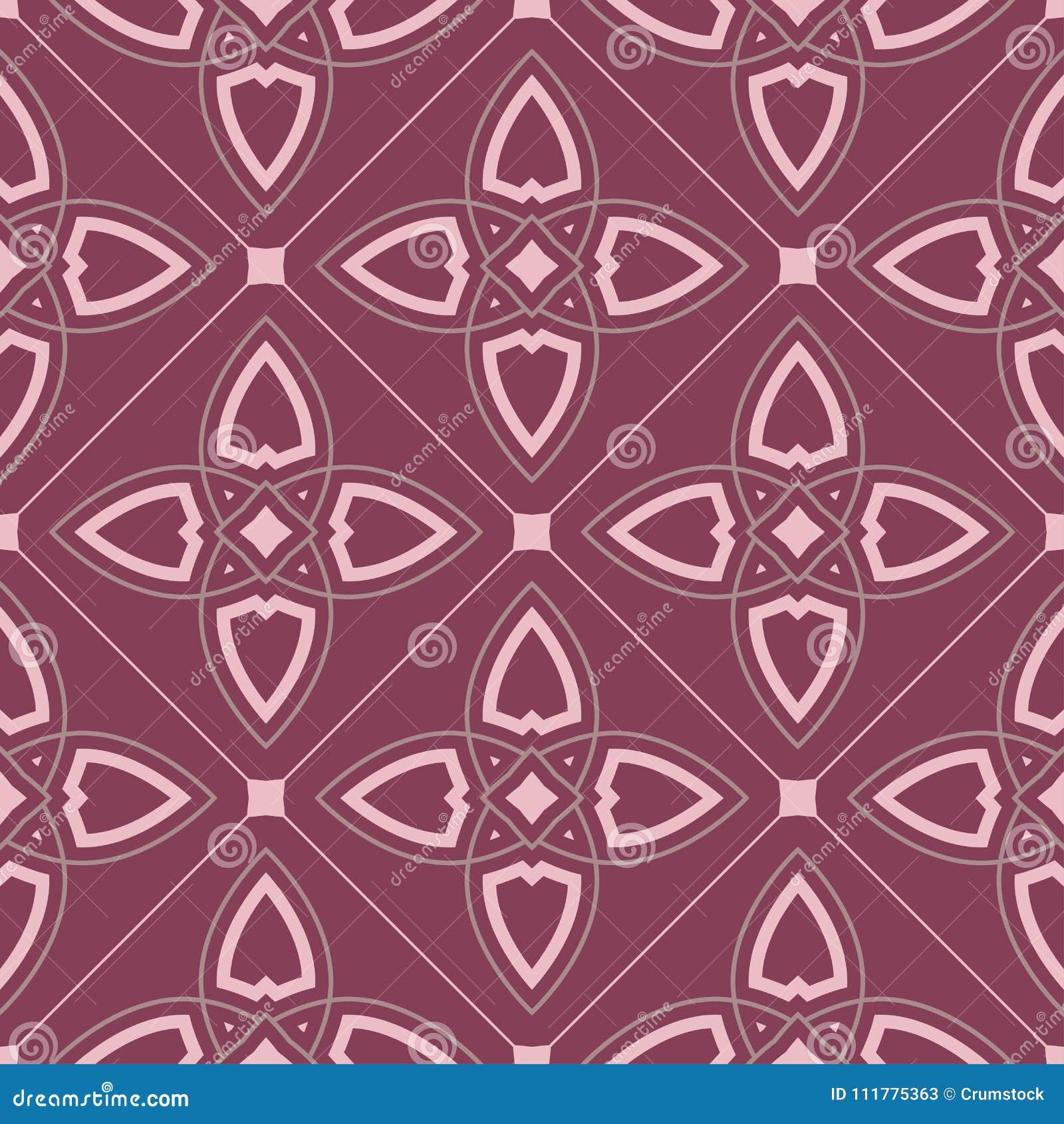 Geometric seamless pattern. Purple red background