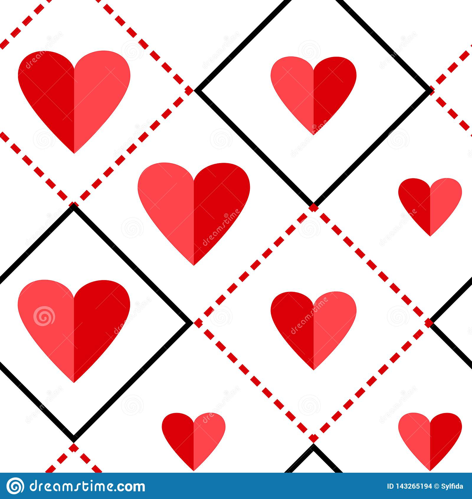 Geometric seamless pattern with squares and red hearts. Vector illustration