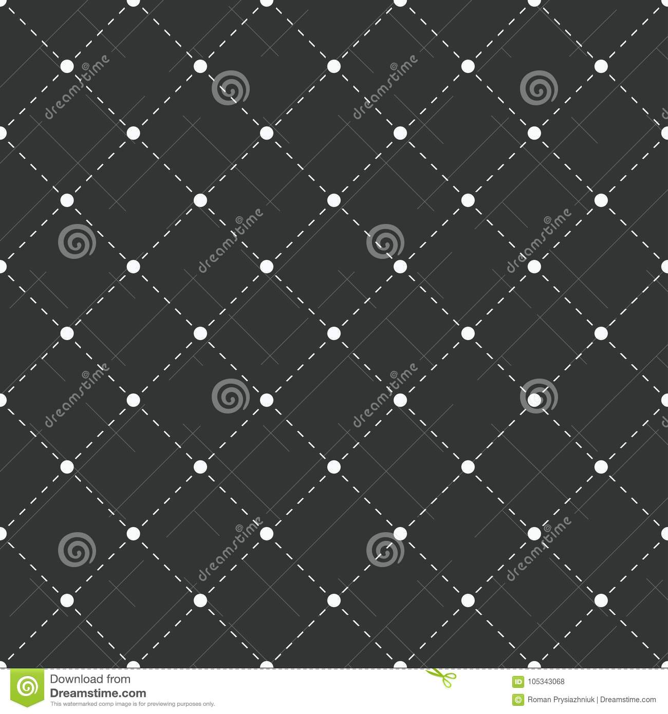 Geometric seamless pattern. White dots with dashed lines on black background. Vector illustration.