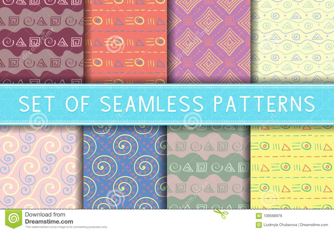 Geometric Seamless Patterns  Collection Of Colored Backgrounds Stock