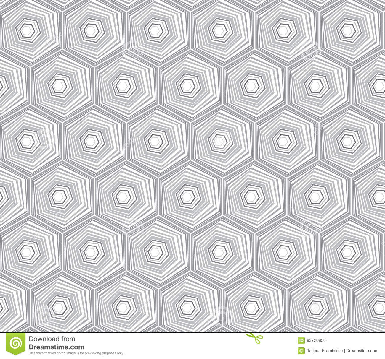 Geometric Seamless Repeating Pattern With Hexagon Shapes In Pastel And Hand Drawn Dots Texture. Stock Vector