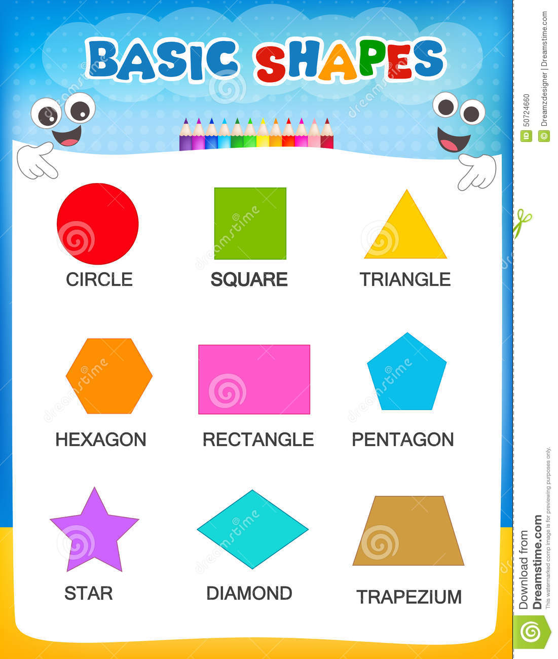 Worksheet Shapes For Kindergarten geometric shapes stock vector image 50724660 royalty free vector