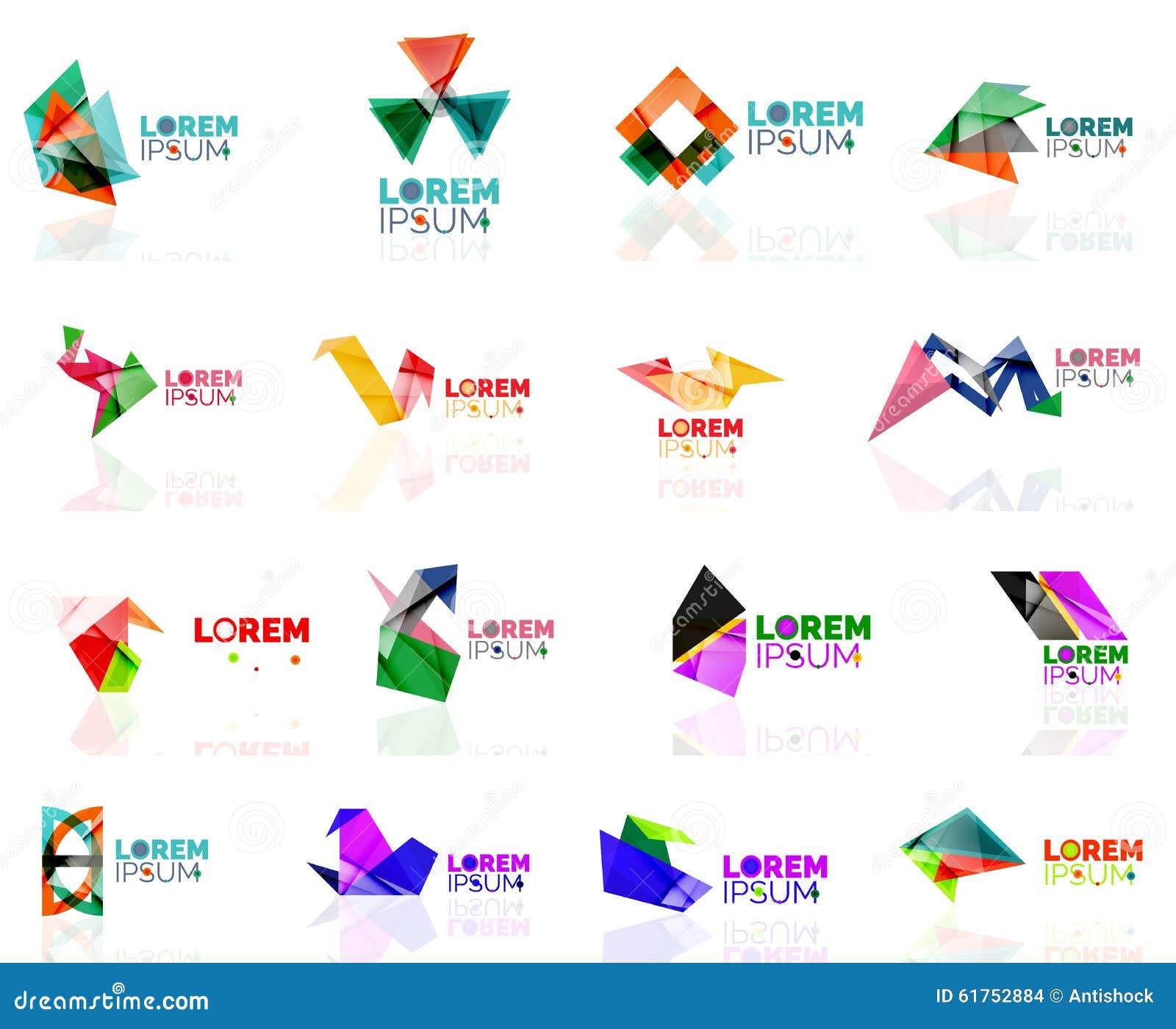 Geometric Shapes Company Logo Set, Paper Origami Stock ... - photo#2